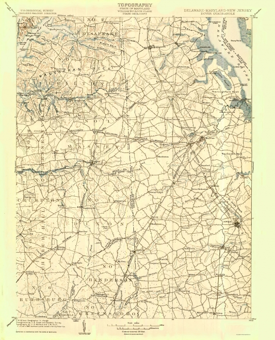 Old Topographical Map - Dover Delaware 1904