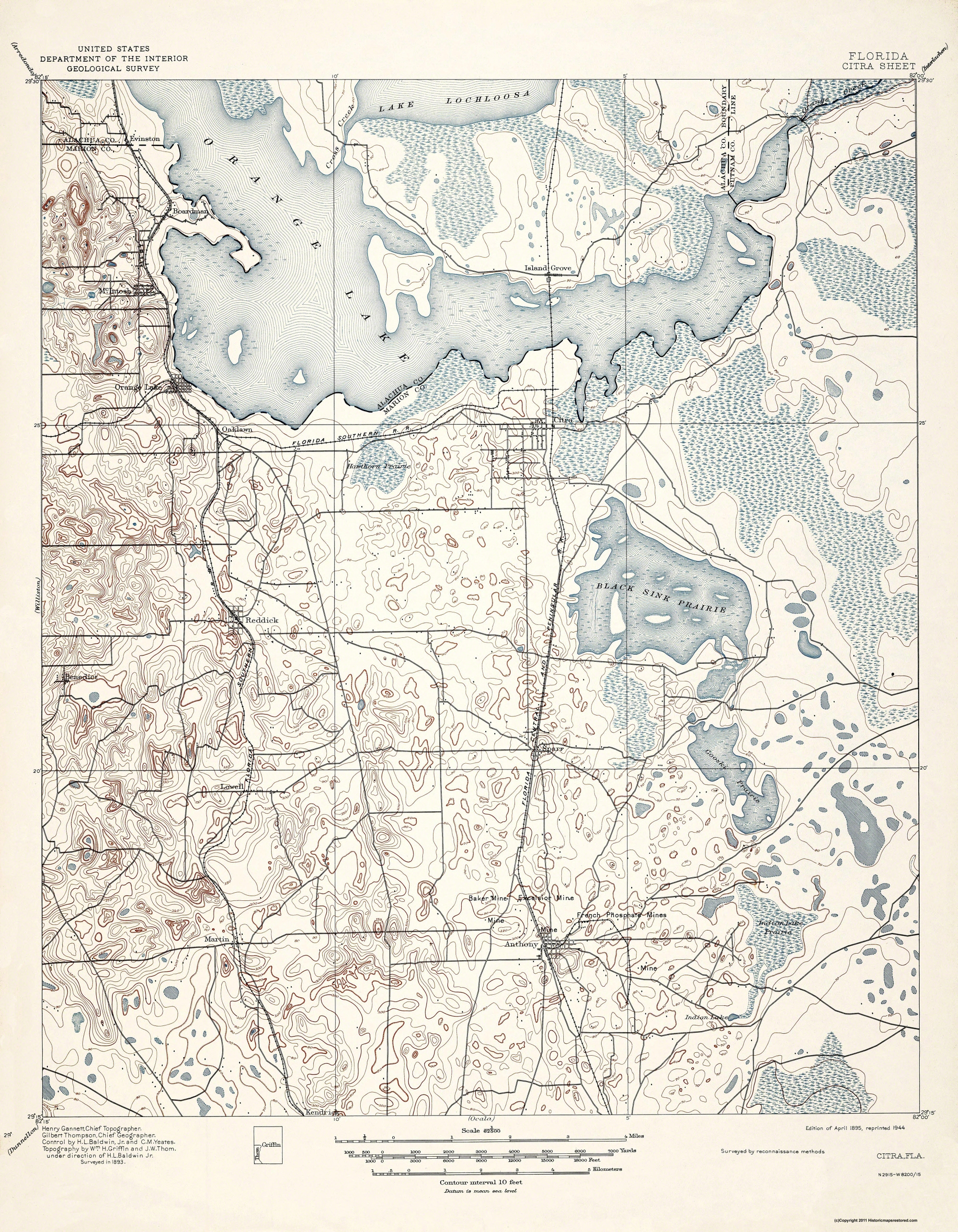 Old Topographical Map Citra Florida 1895