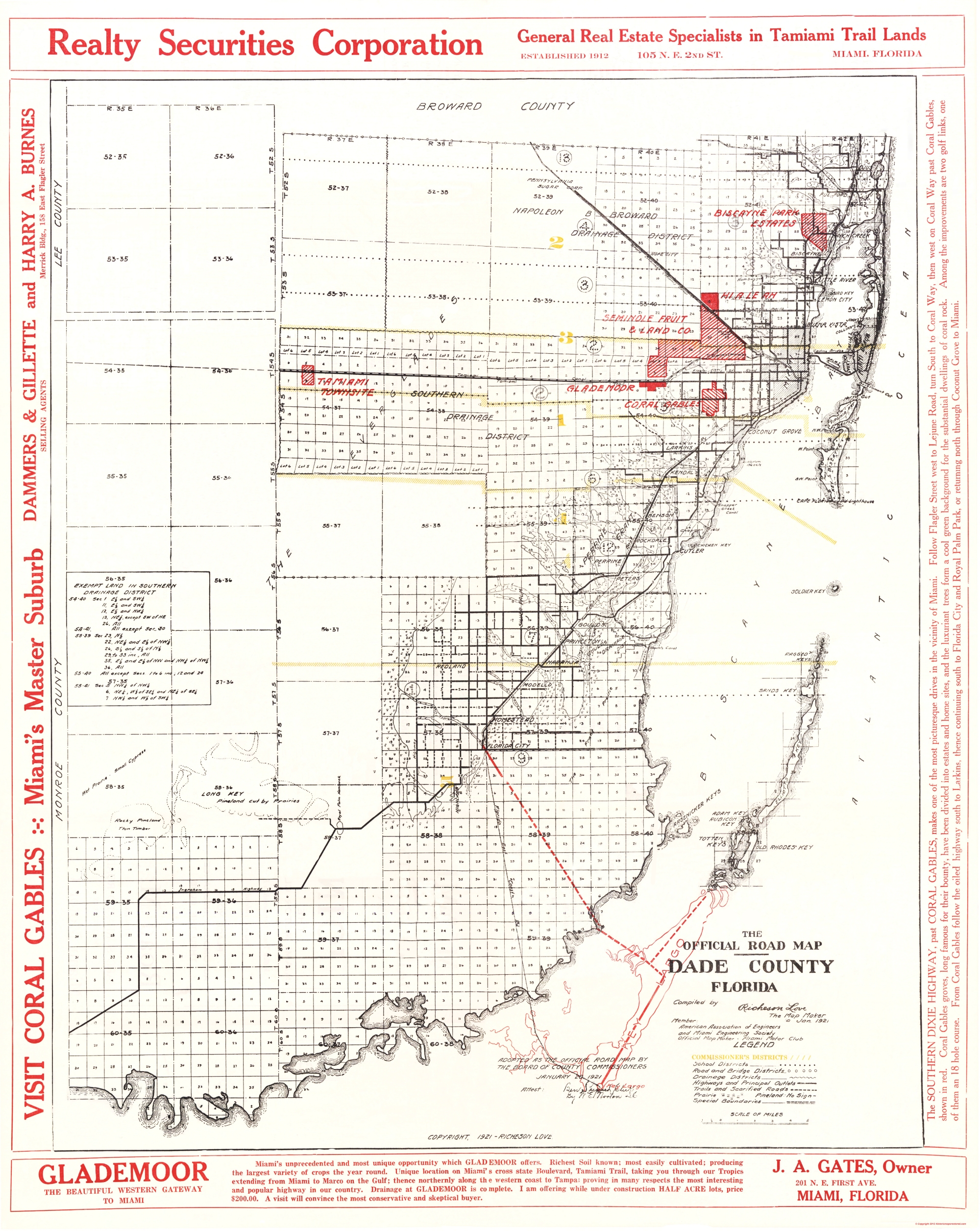 Old County Map Dade Florida Road Richeson - Florida map dade city