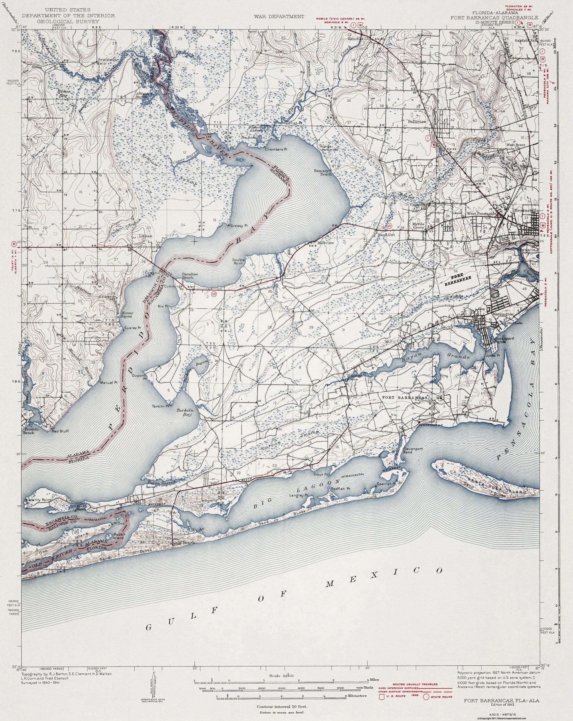 Florida Alabama Map.Topographical Map Fort Barrancas Florida Alabama 1943
