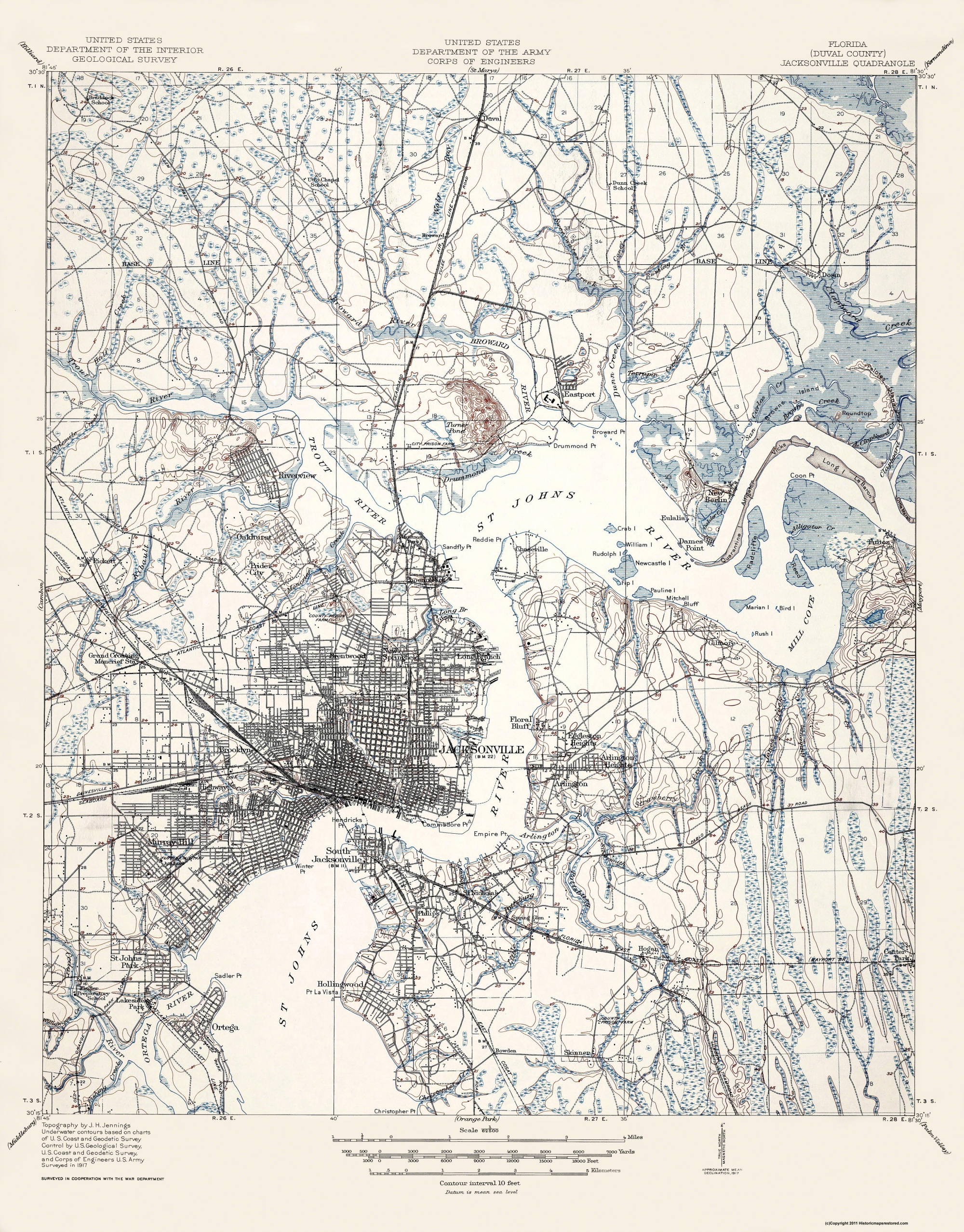 Old Topographical Map Jacksonville Florida 1917