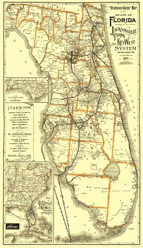 Old Railroad Map - Jacksonville, Tampa, and Key West 1891 - 23 x 39