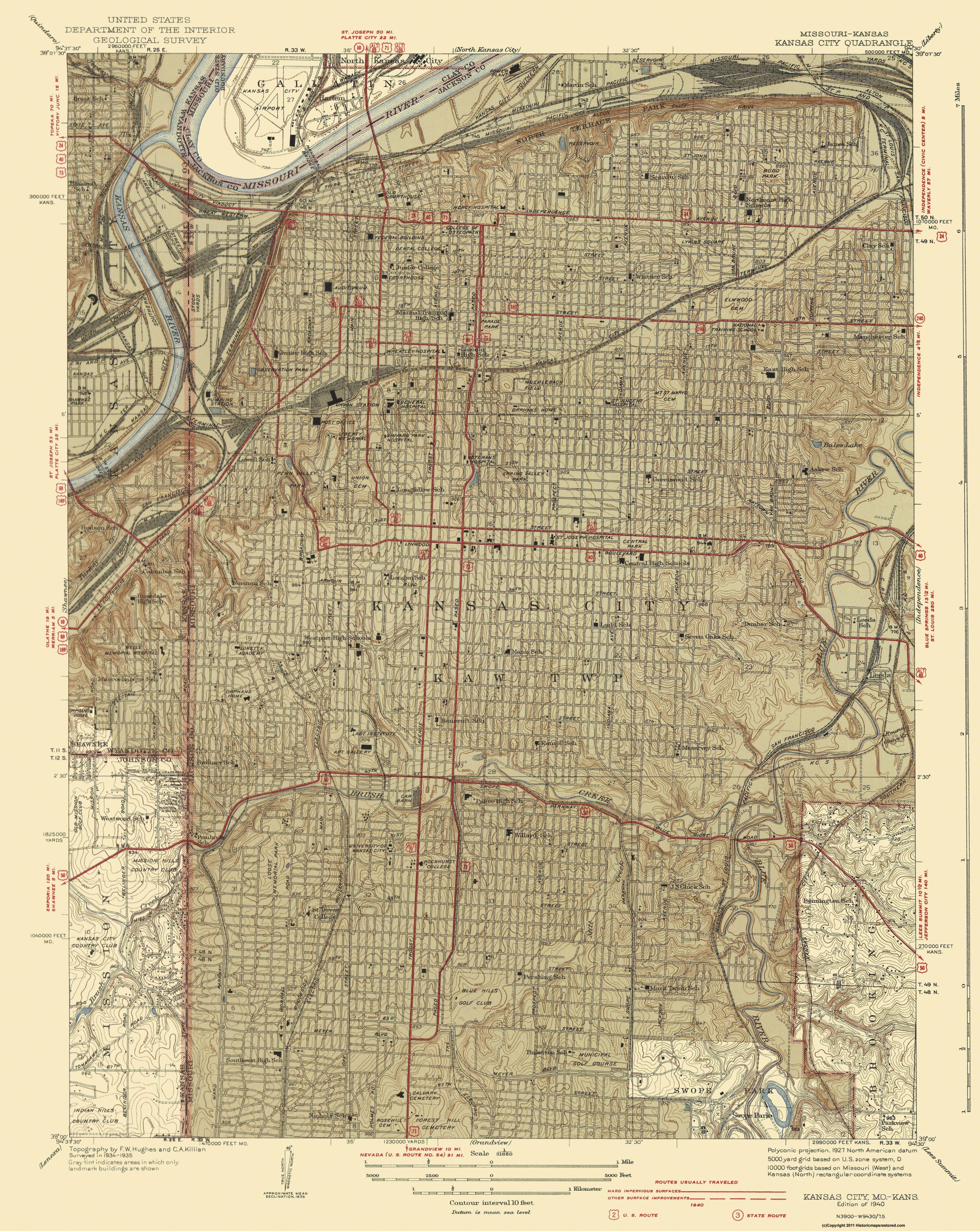 Old Topographical Map - Kansas City Missouri, Kansas 1940
