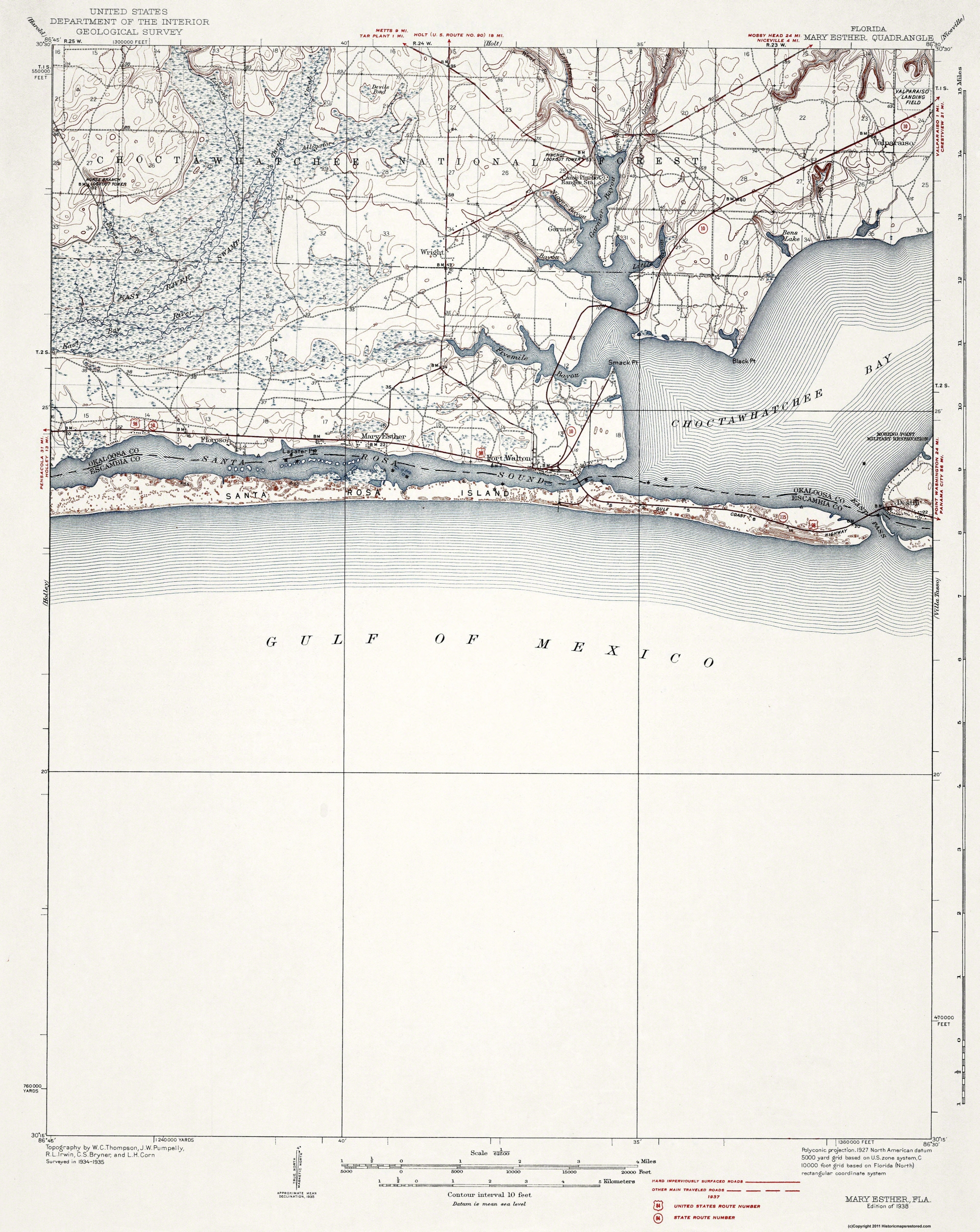Mary Ester Florida Map.Old Topographical Map Mary Esther Florida 1938
