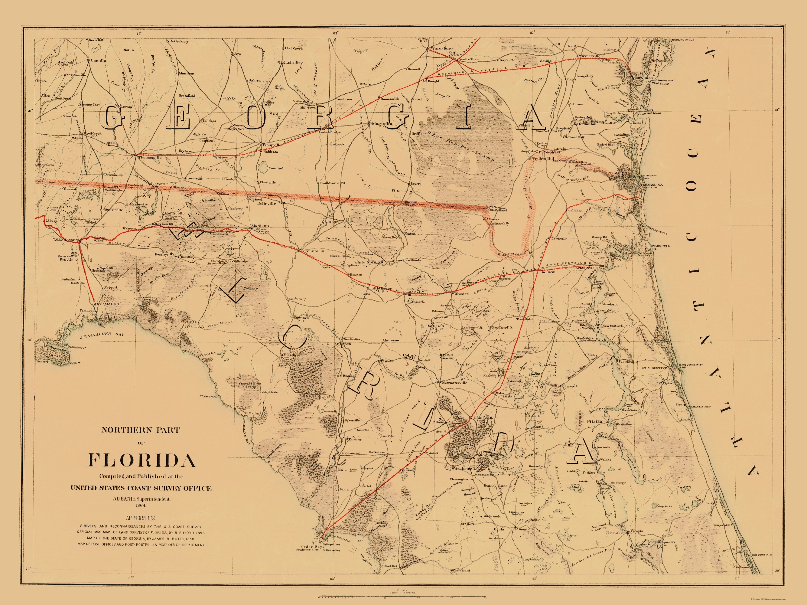 Map Northern Florida.Topographical Map Print Florida Us Coast Guard 1864 23 X 30 69