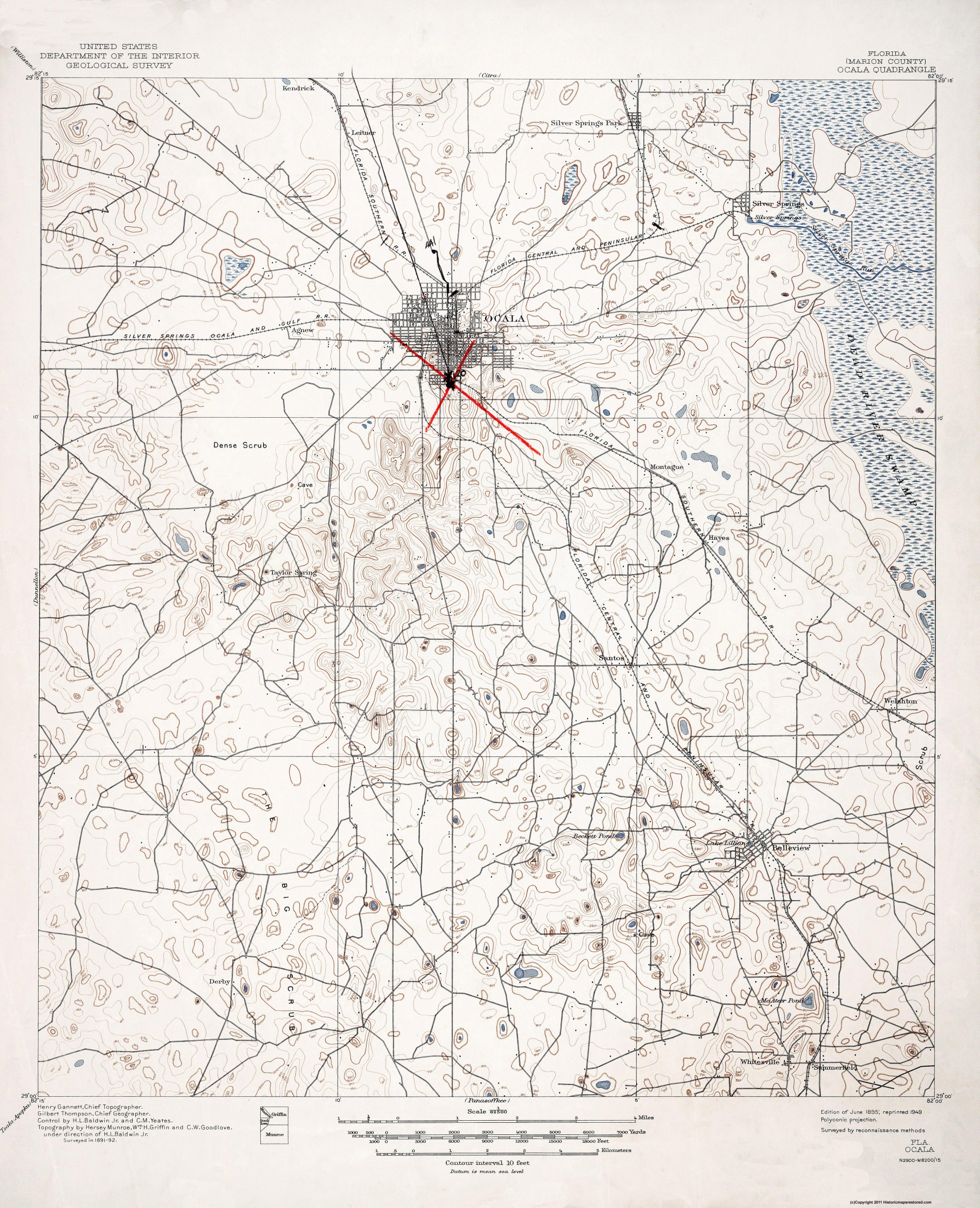 Old Topographical Map Ocala Florida 1895