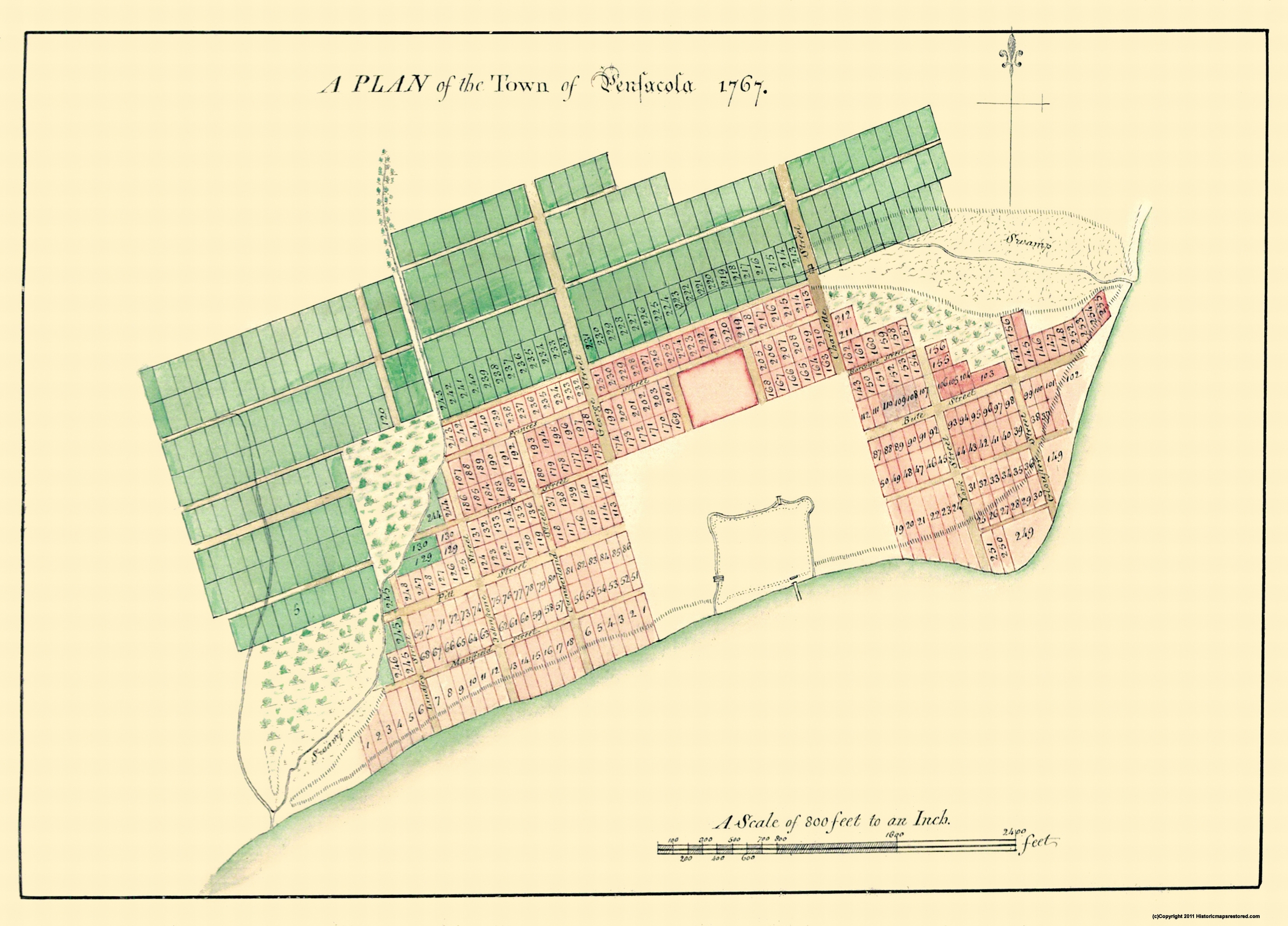 Map Of Pensacola Florida.Old City Map Pensacola Florida Plan 1767