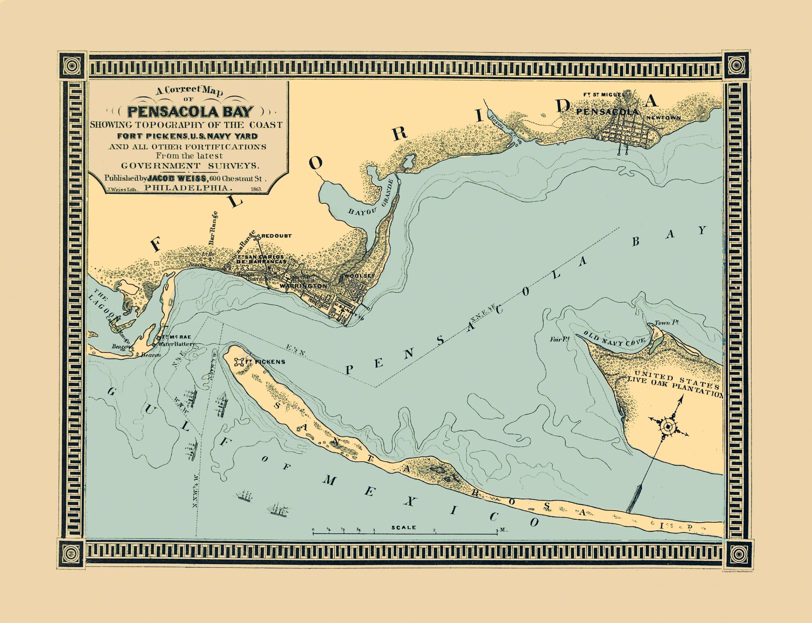 Old City Map Pensacola Bay Florida 1863