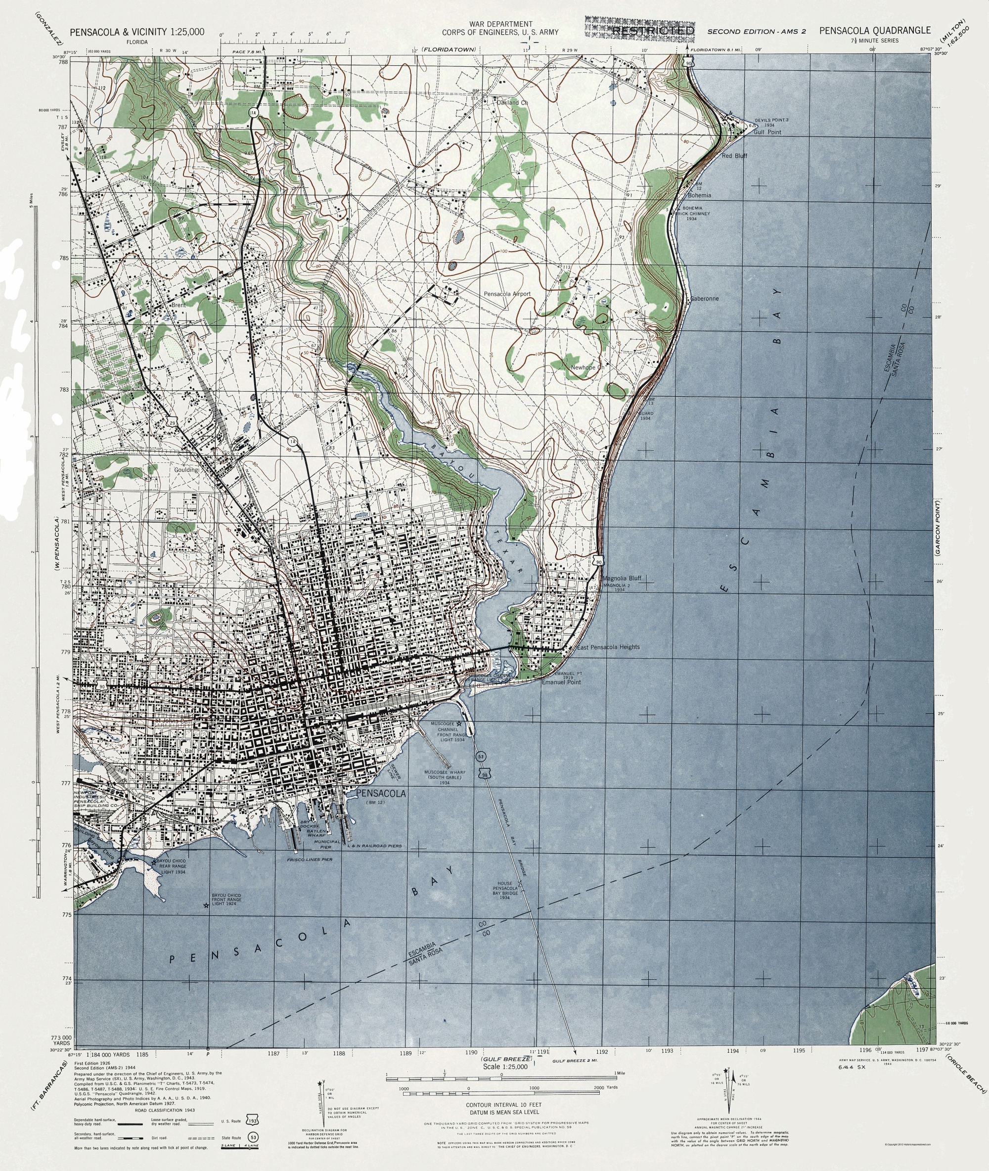 Old Topographical Map Pensacola Florida 1944