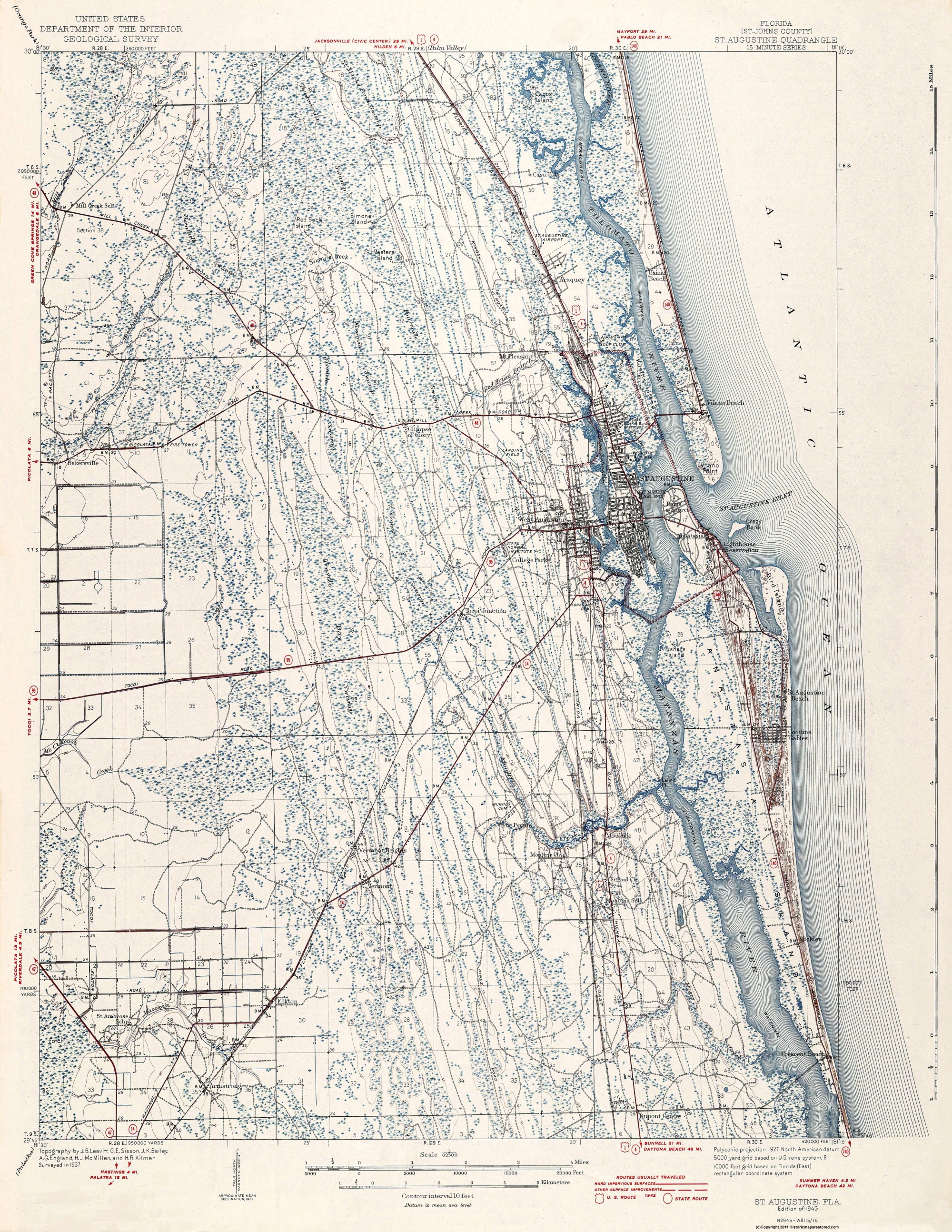 Map Of St Augustine Florida.Old Topographical Map St Augustine Florida 1943