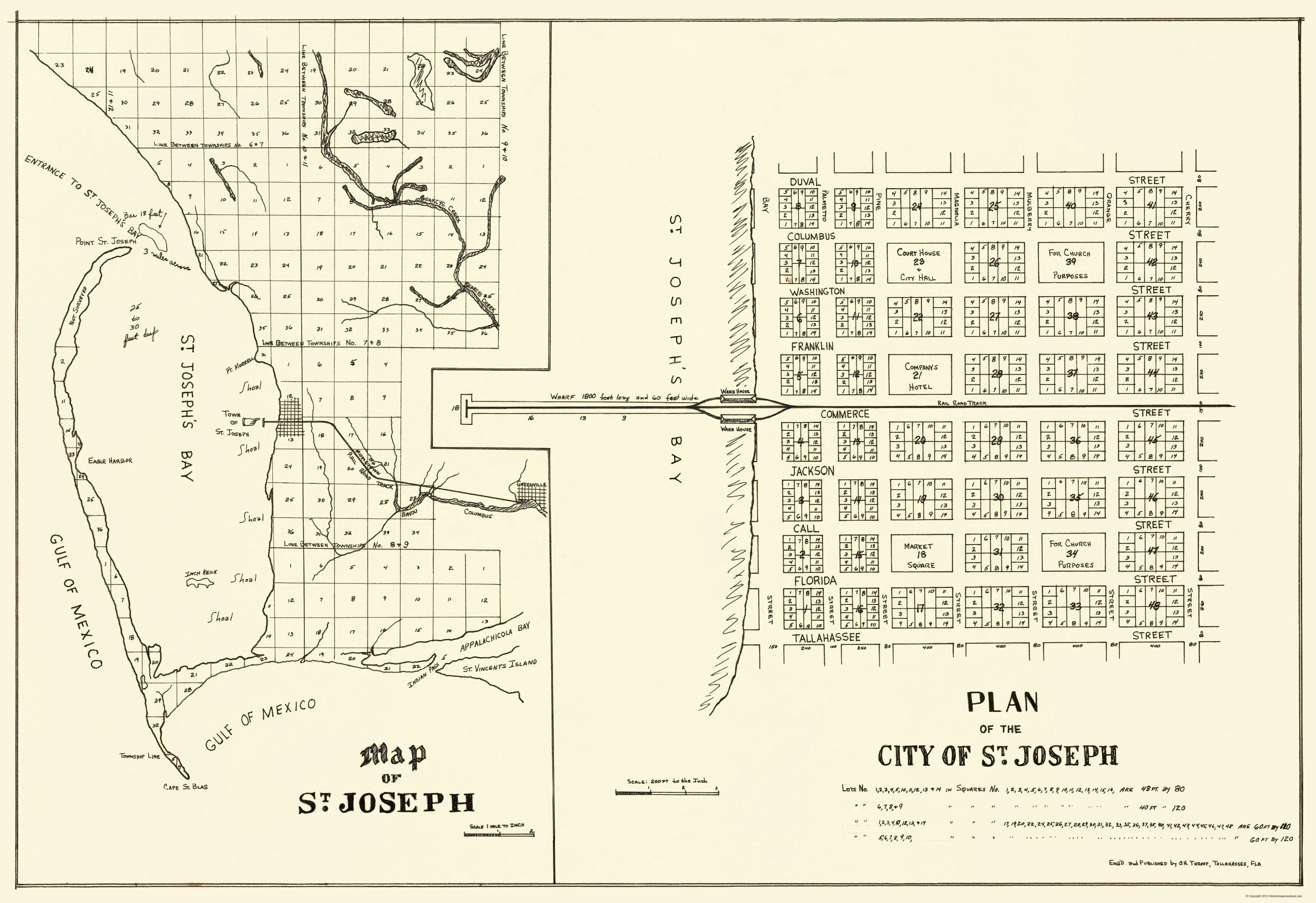 St Joe Florida Map.Old City Map St Joseph Florida Planning 1837