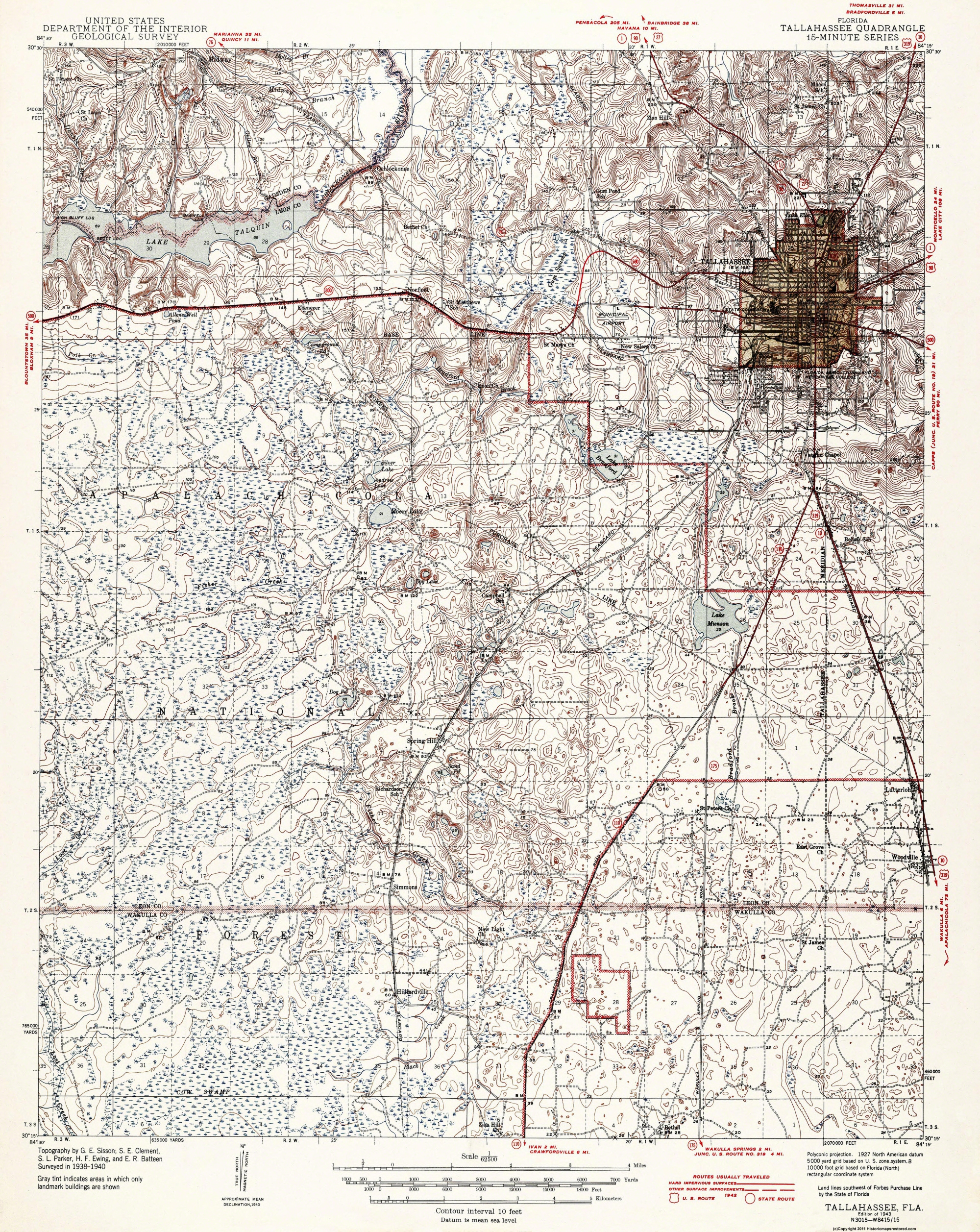 Map Of Florida Showing Tallahassee.Topographical Map Print Tallahassee Florida Quad Usgs 1943 17 X 21 38