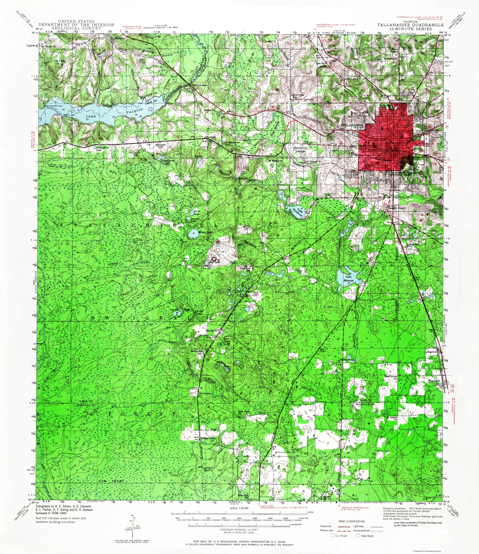 Old Topographical Map - Tallahassee Florida 1940