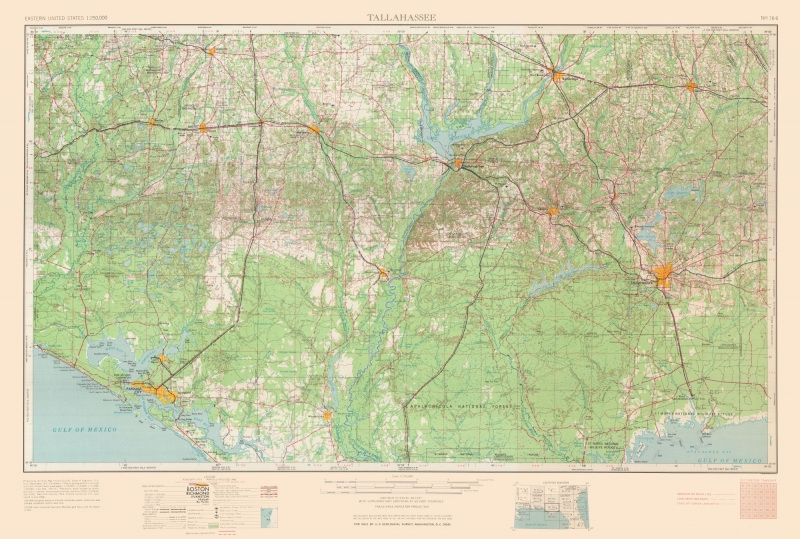 Topographic Map - Tallahassee Florida Quad - USGS 1954 - 34.14 x 23