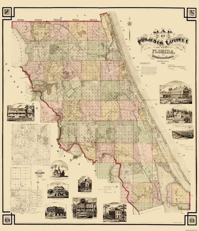 Full Map Of Florida.Old County Map Volusia Florida Landowner Rogers 1883 23 X 26 75
