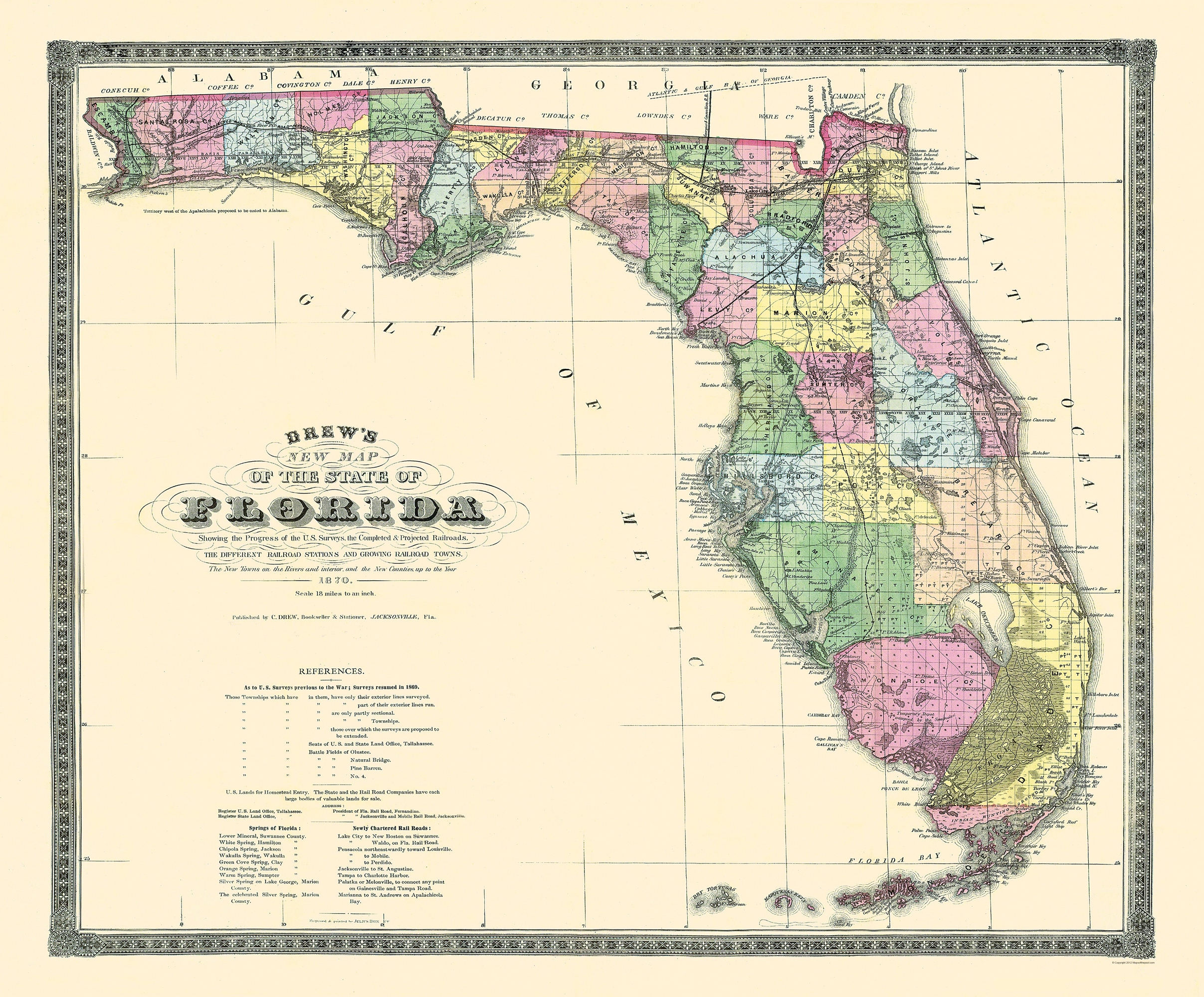 Old State Map - Florida - Drew 1870