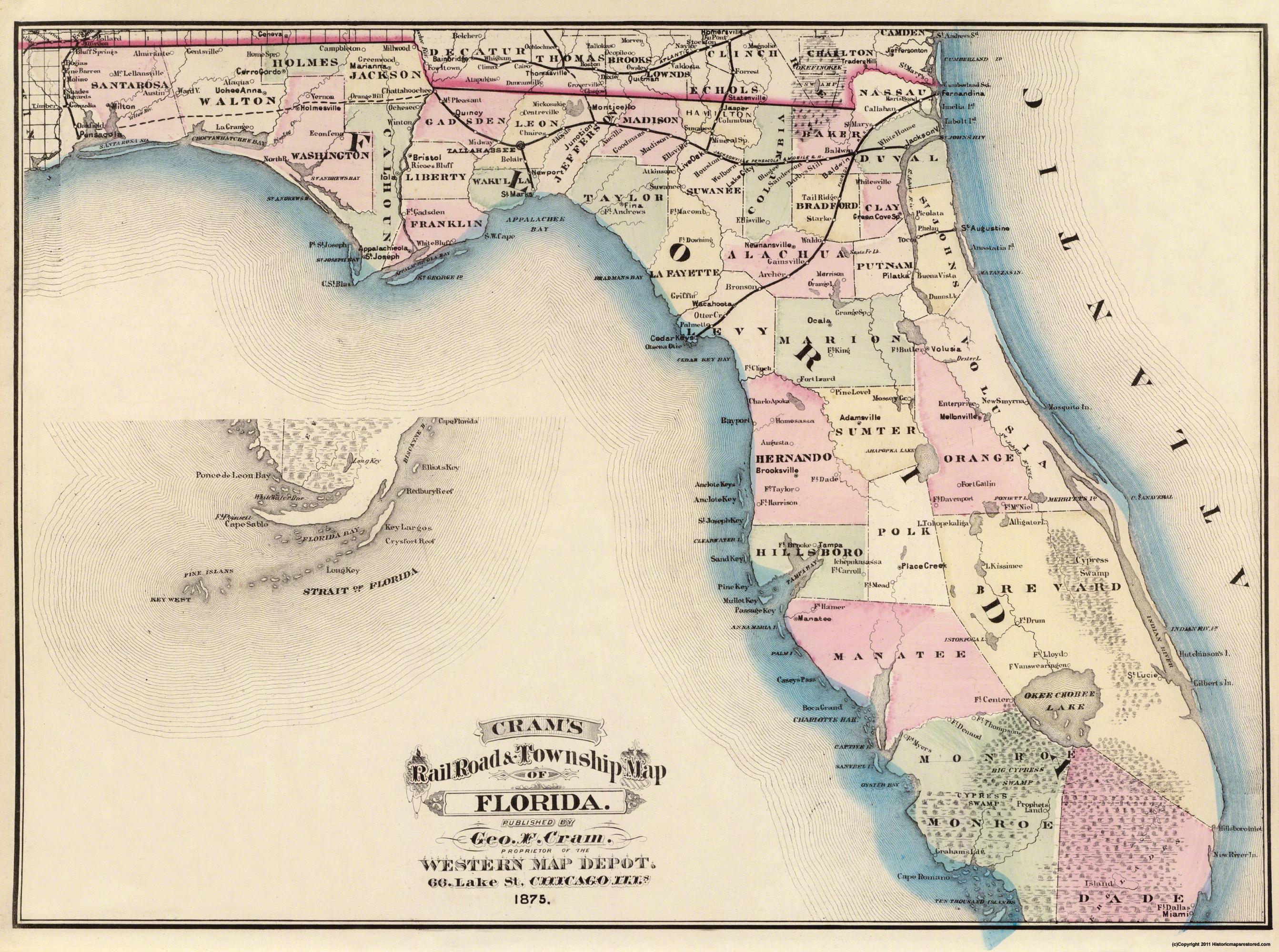 Old State Map - Florida - Cram 1875