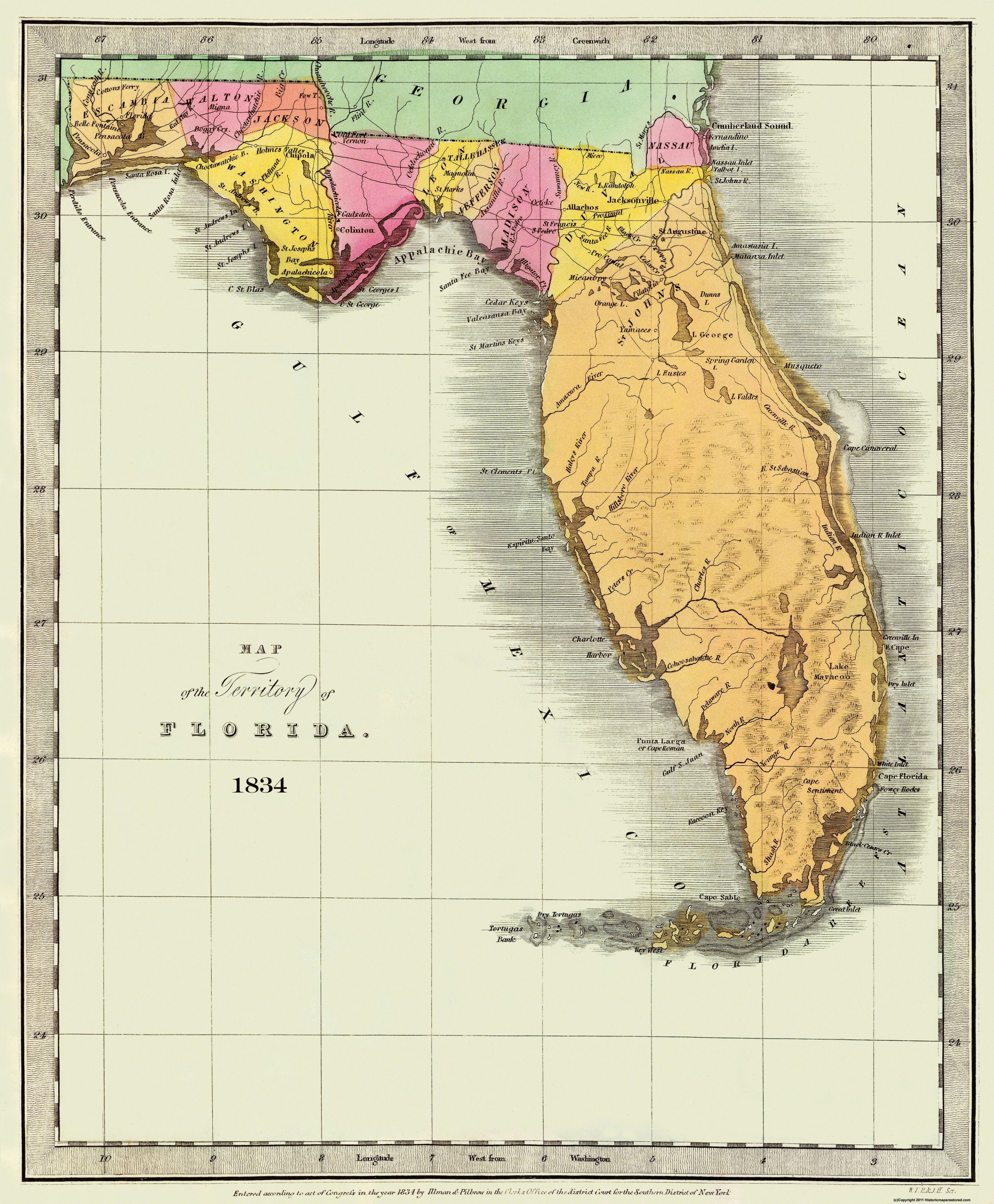 Old State Map - Florida - Burr 1834