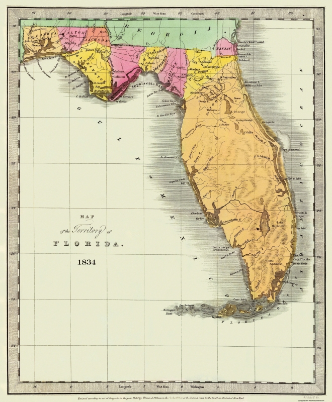 Burr 1834-23 x 27.88 Florida Old State Map