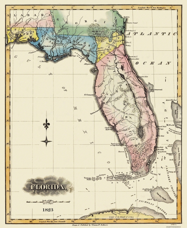 Old State Map - Florida - Lucas 1823 - 23 x 28.06
