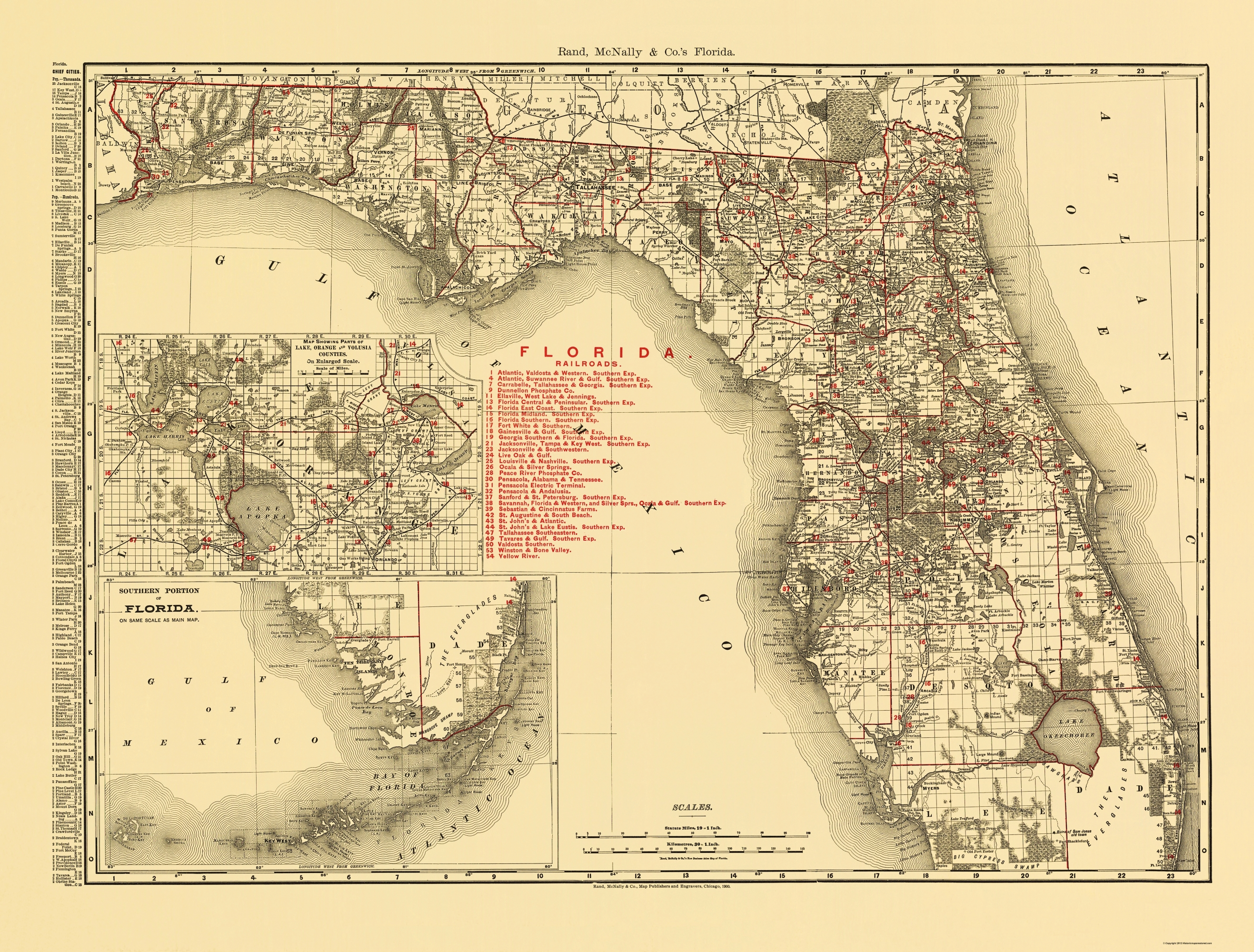 Old State Map Florida Rand Mcnally 1900