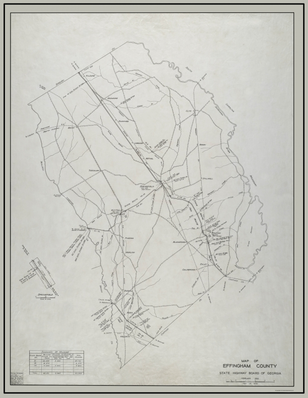 Highway Map Of Georgia.Old County Map Effingham Georgia Highway Board 1932 23 X 29 70