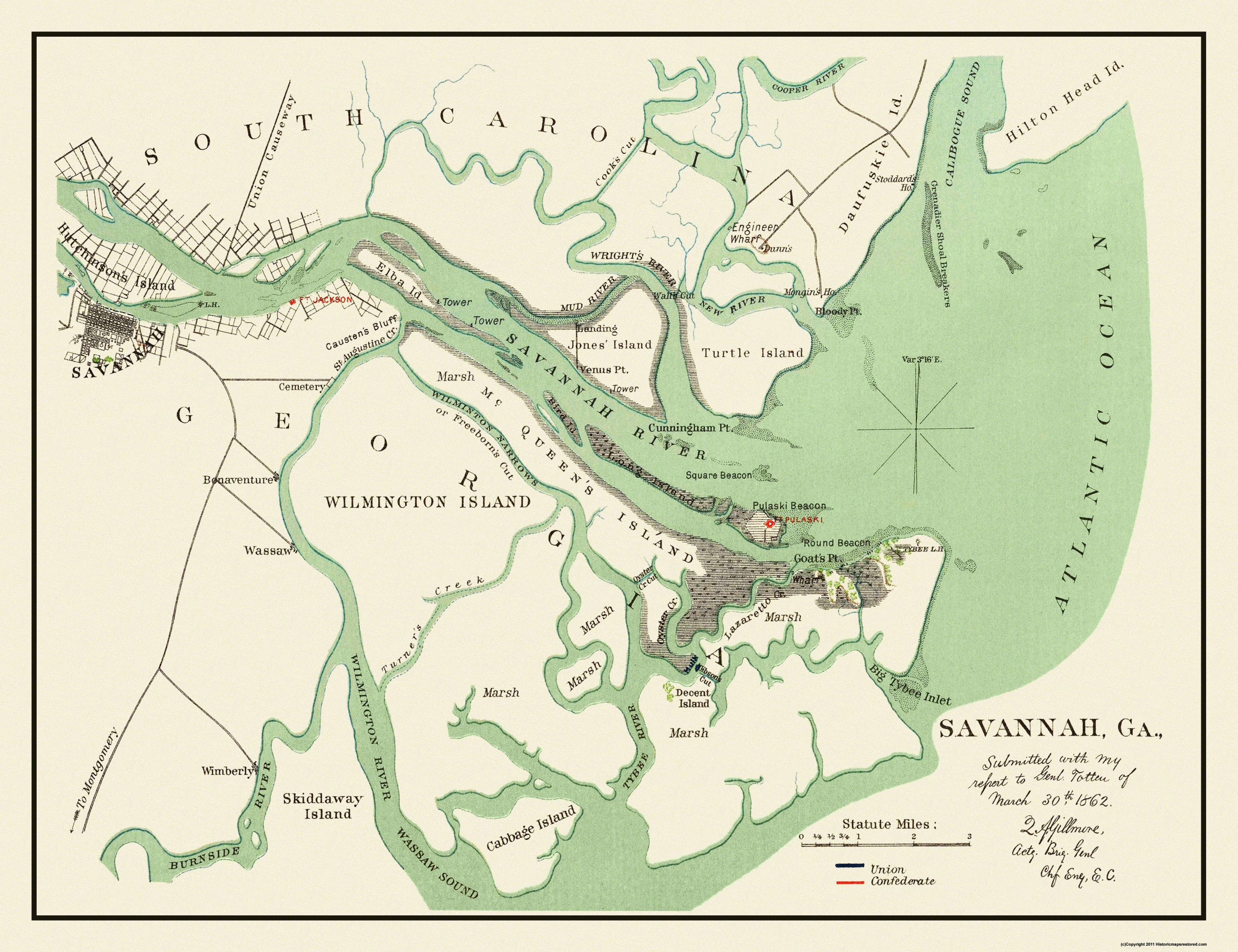 Old City Map Savannah Georgia 1862