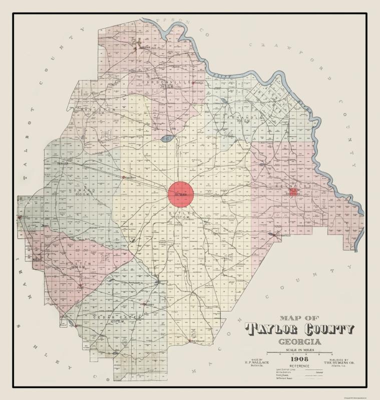 Map Of Old Georgia.Old County Map Taylor Georgia Landowner Hudgins 1908 23 X 24 26