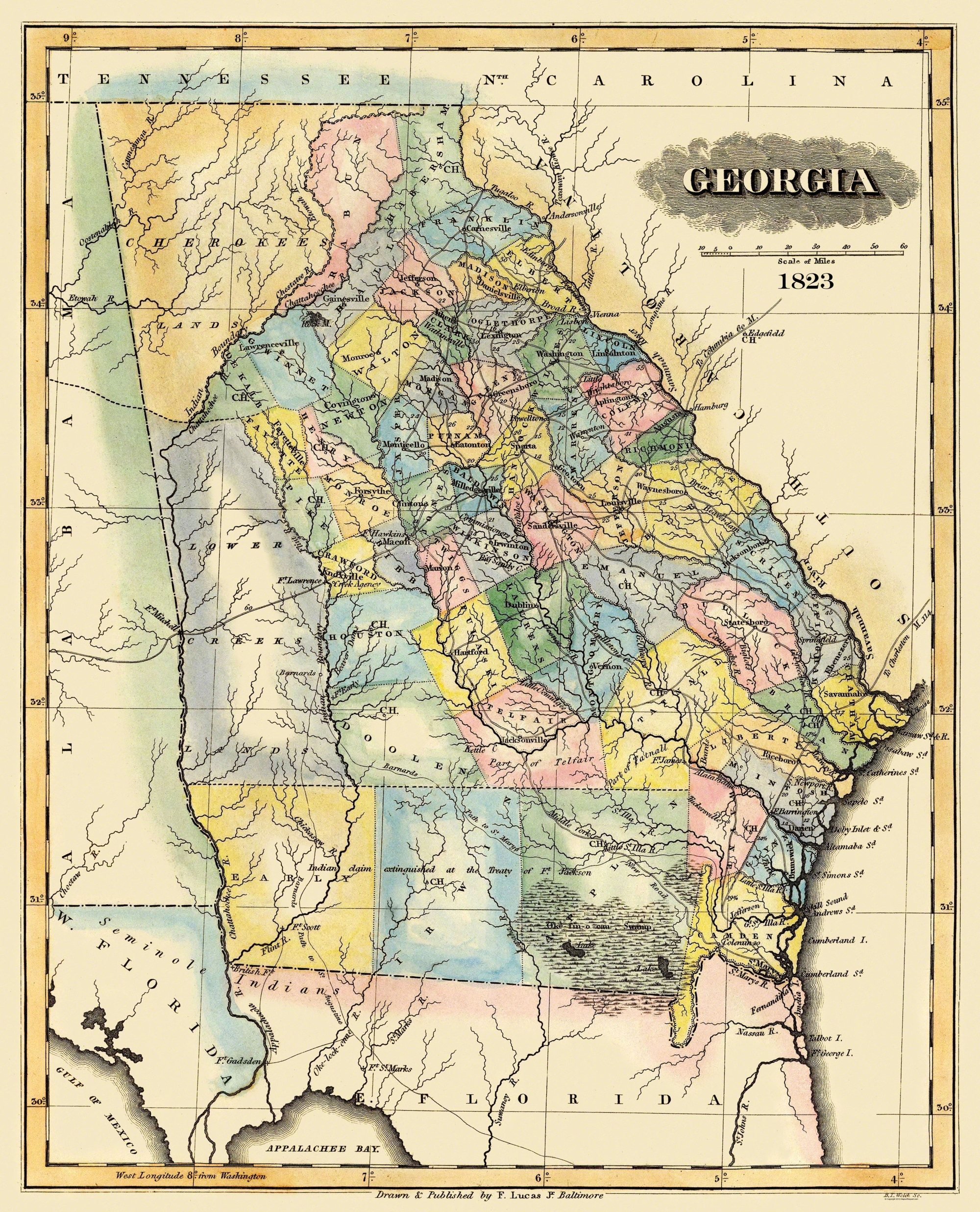 Old State Map Georgia Lucas - 1823 us map