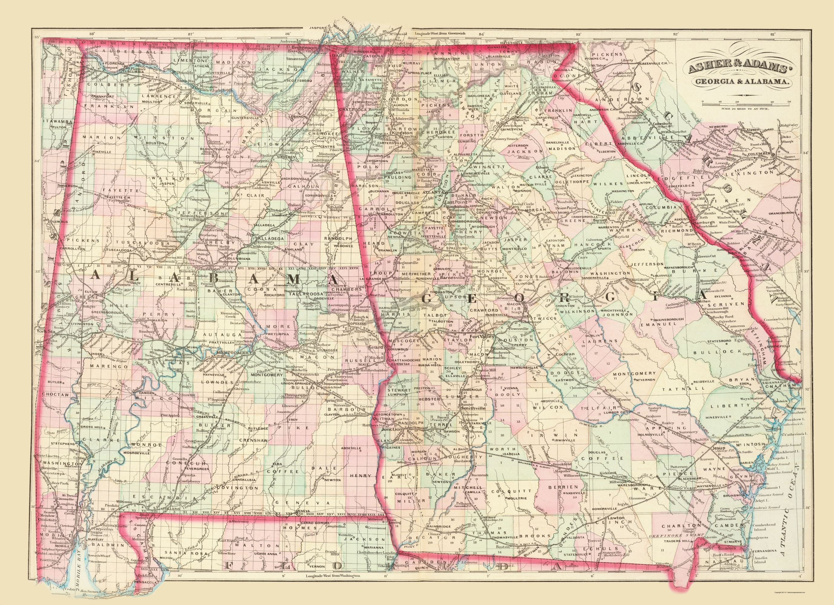 Map Of Georgia Alabama.Old State Map Georgia Alabama Asher 1874 23 X 31 72