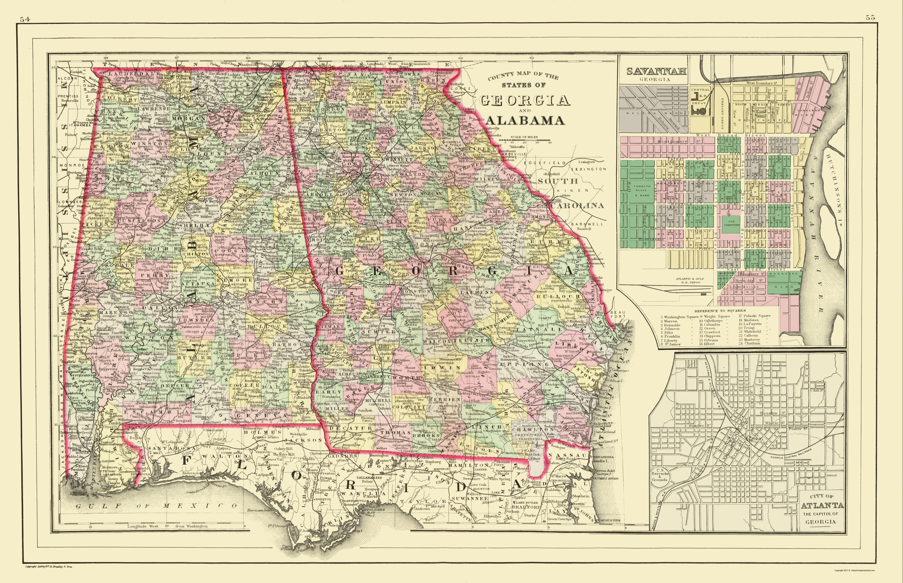 Old State Map Georgia Alabama Mitchell 1890