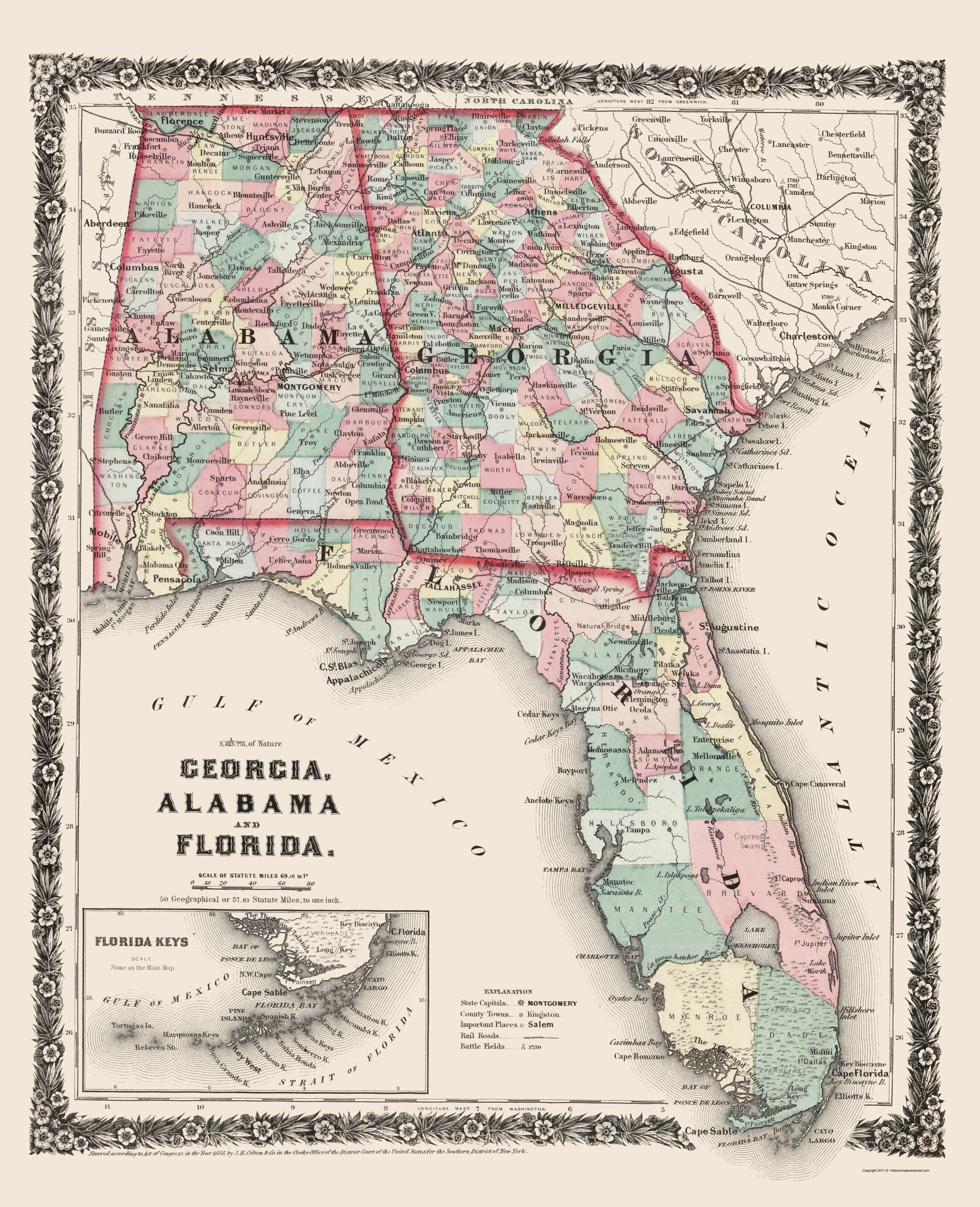 Old State Map - Georgia, Alabama, Florida - Colton 1858