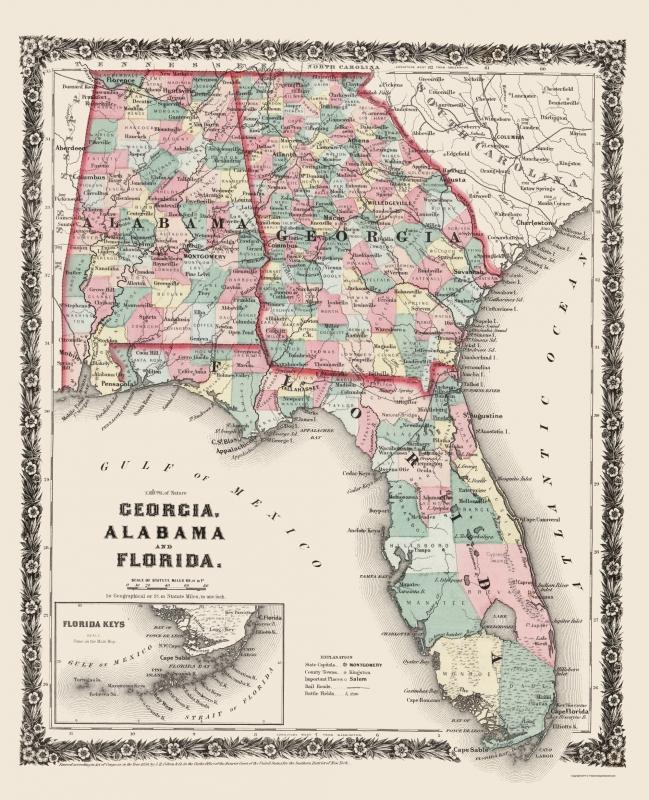 Map Of Arizona 1858.Old State Map Georgia Alabama Florida Colton 1858 23 X 28 34