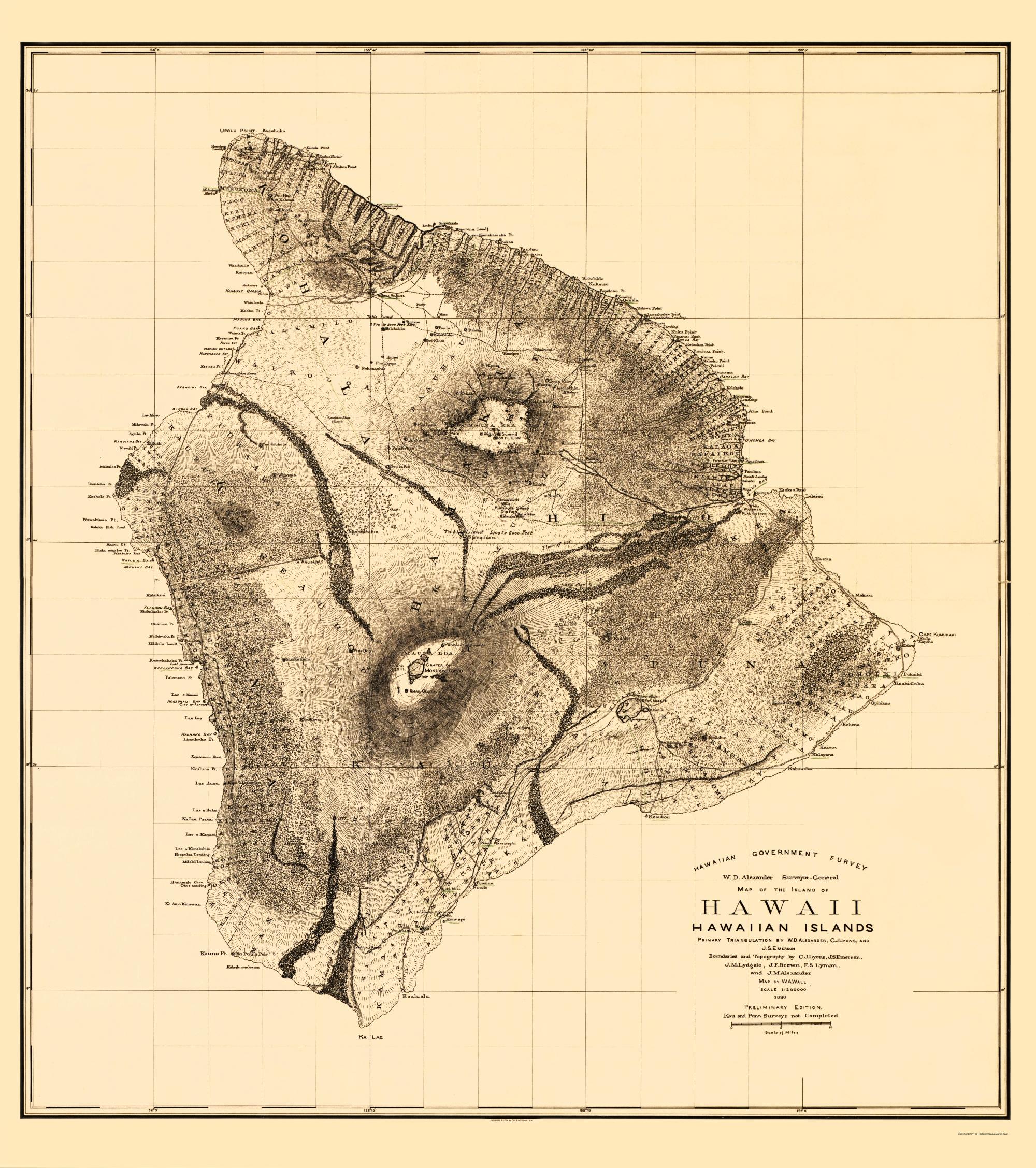 Old County Map - Hawaii Hawaii - Bien 1886
