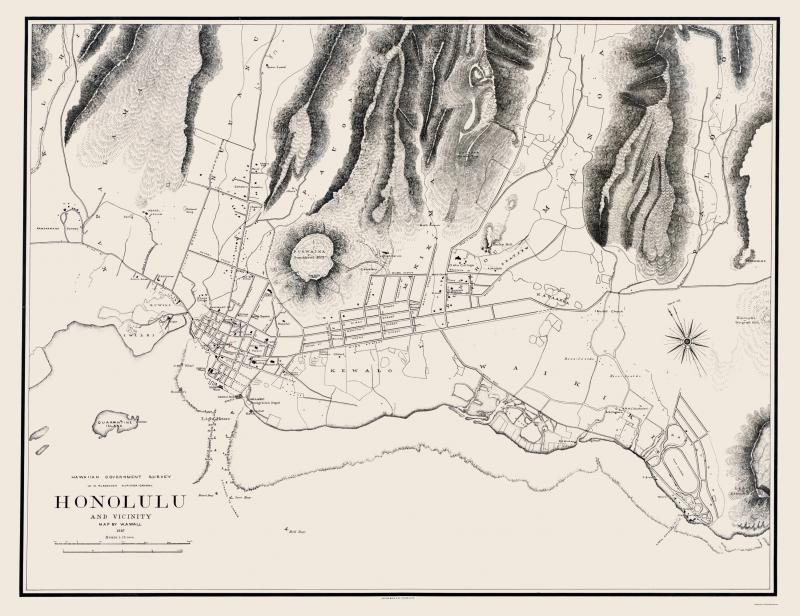 Honolulu Hawaii - Wall 1887 - 23 x 29.89 on kona map, paris map, wellington map, lahaina map, hilo map, kauai map, newport beach map, waimea map, baltimore map, pearl harbor map, waikoloa map, hawaii map, san diego map, oahu map, maui map, pearl city map, kahului map, waikiki map, seattle map, hawaiian islands map,
