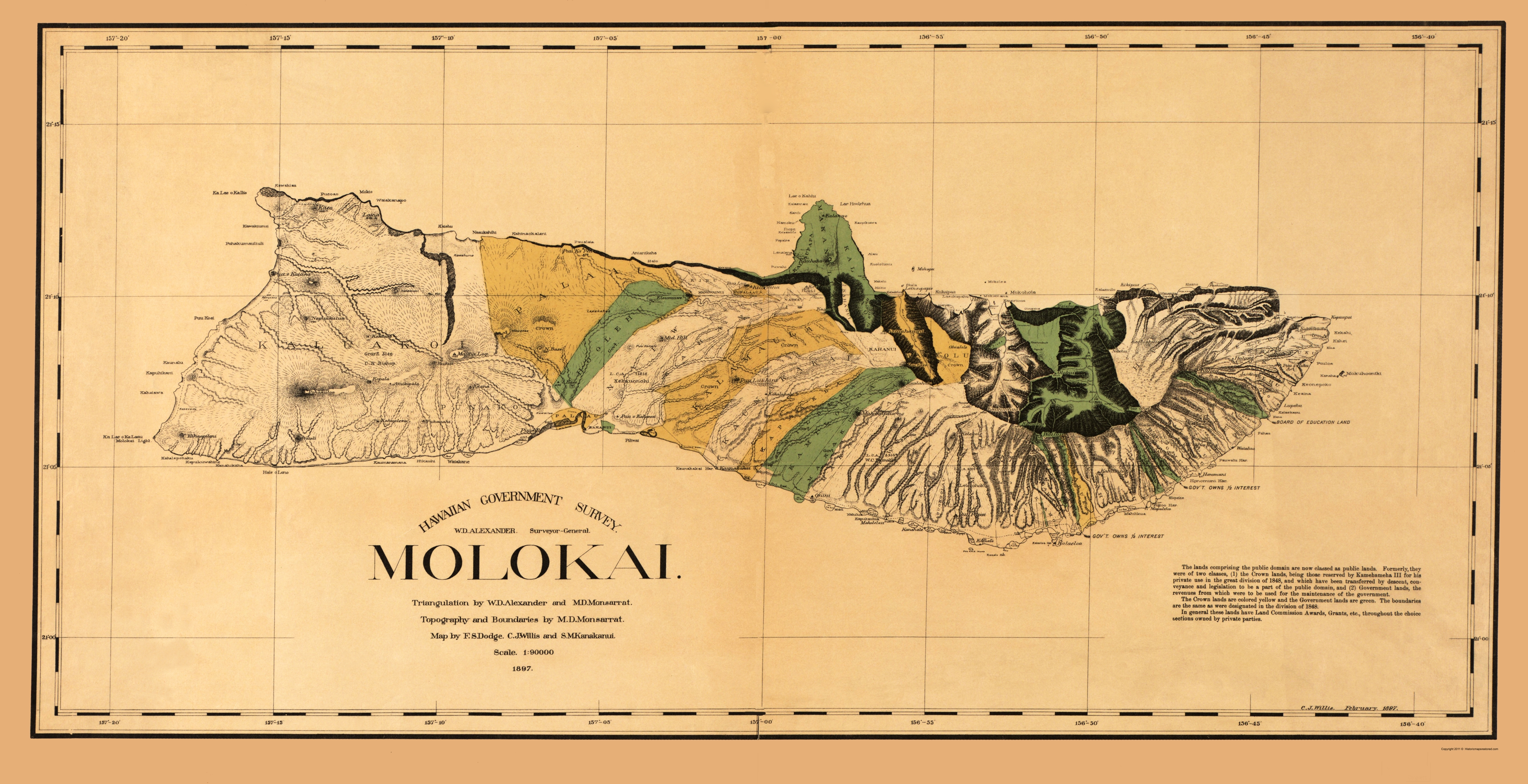 Old county map molokai hawaii willis 1897 double tap to zoom gumiabroncs Choice Image