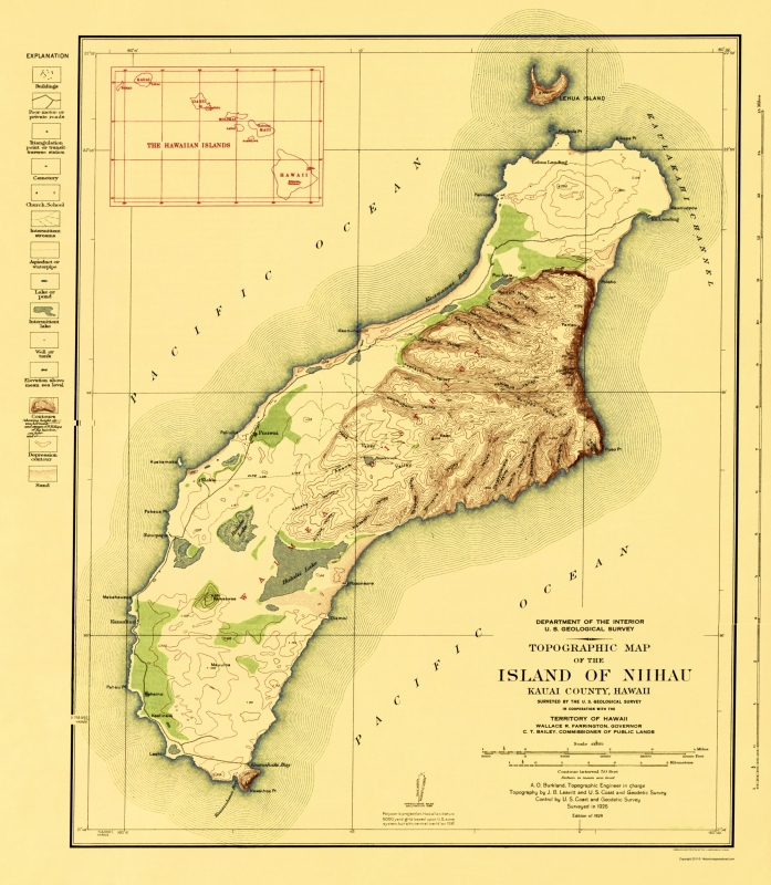 Topographical Map Print - Niihau Island Hawaii - USGS 1929 - 23 x 26.38