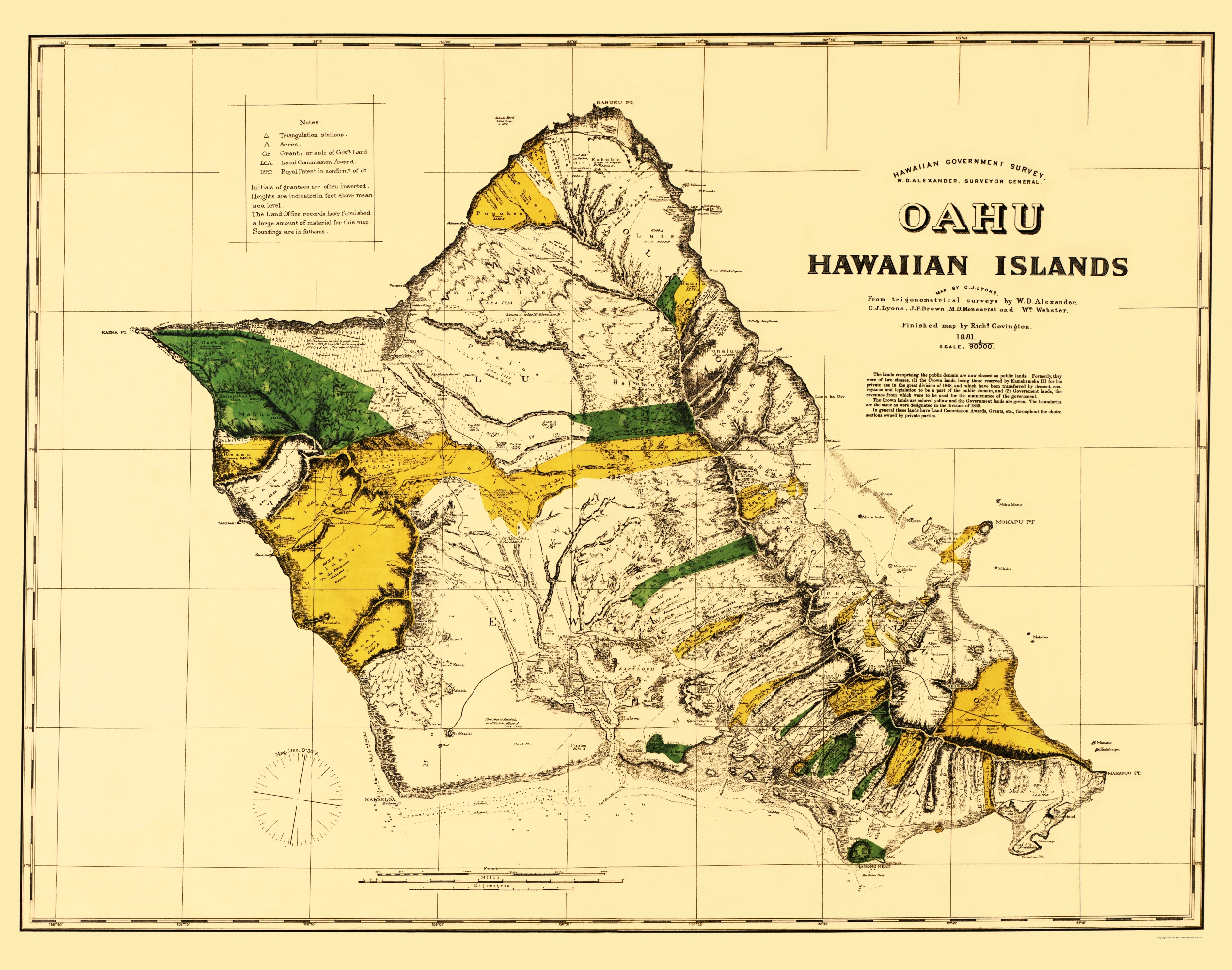 Old Map Oahu Hawaii Covington 1881