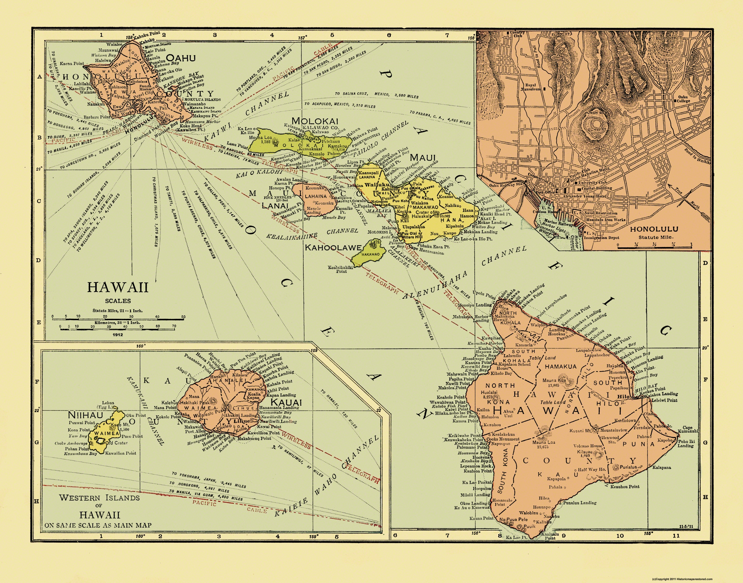 Old State Map - Hawaii - 1912