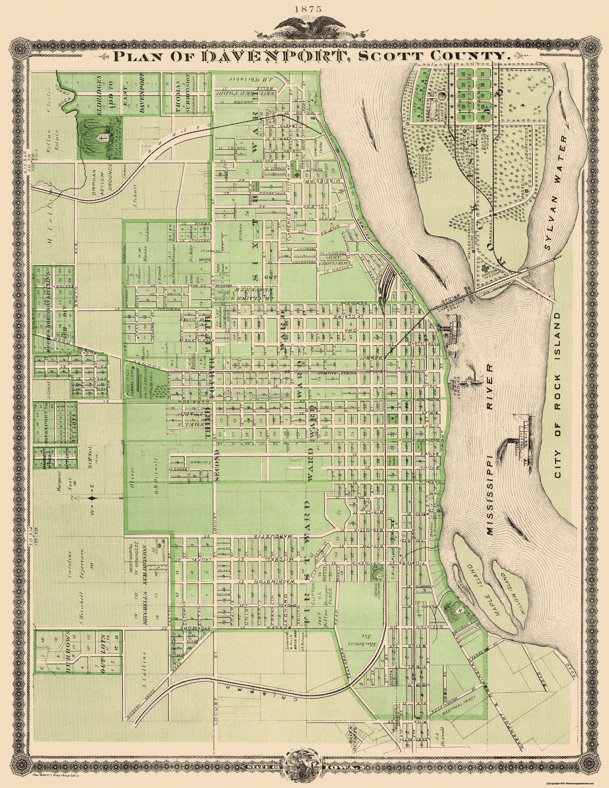 Old City Map Davenport Iowa Landowner 1875