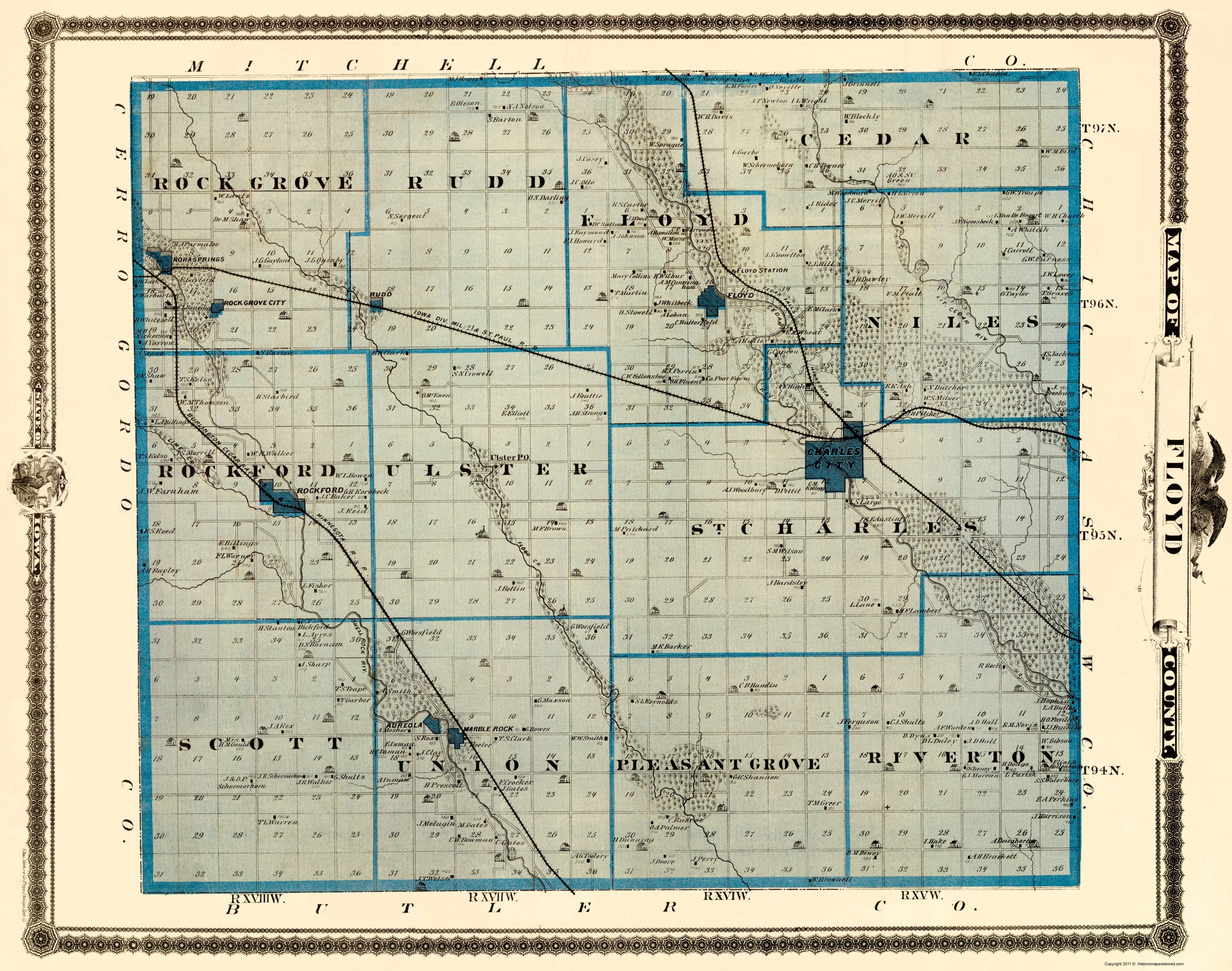 Old Iowa Map.Old County Map Floyd Iowa Landowner Andreas 1874