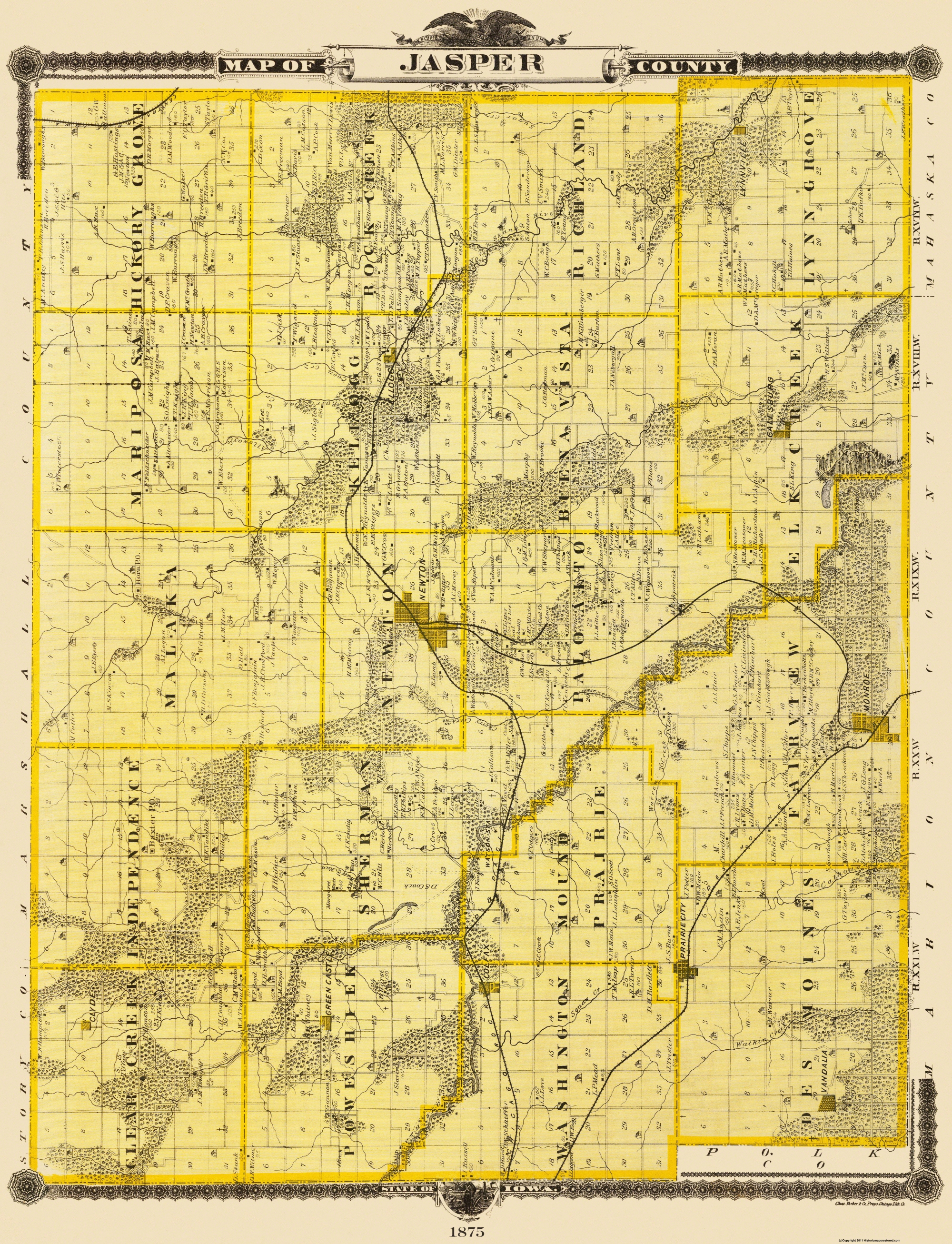 Old Iowa Map.Old County Map Jasper Iowa Shober 1875