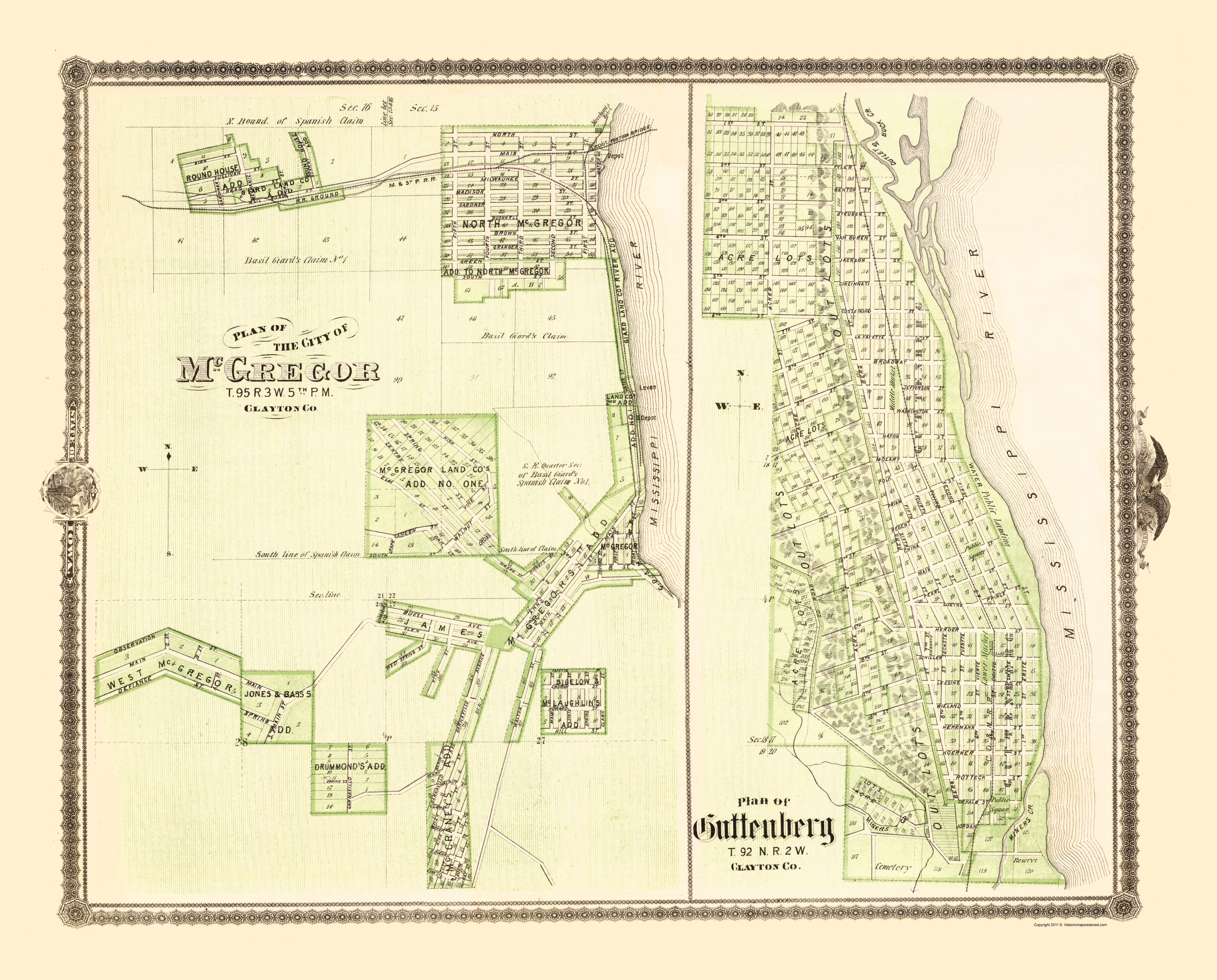 Old City Map Mcgregor Guttenberg Iowa Landowner 1874