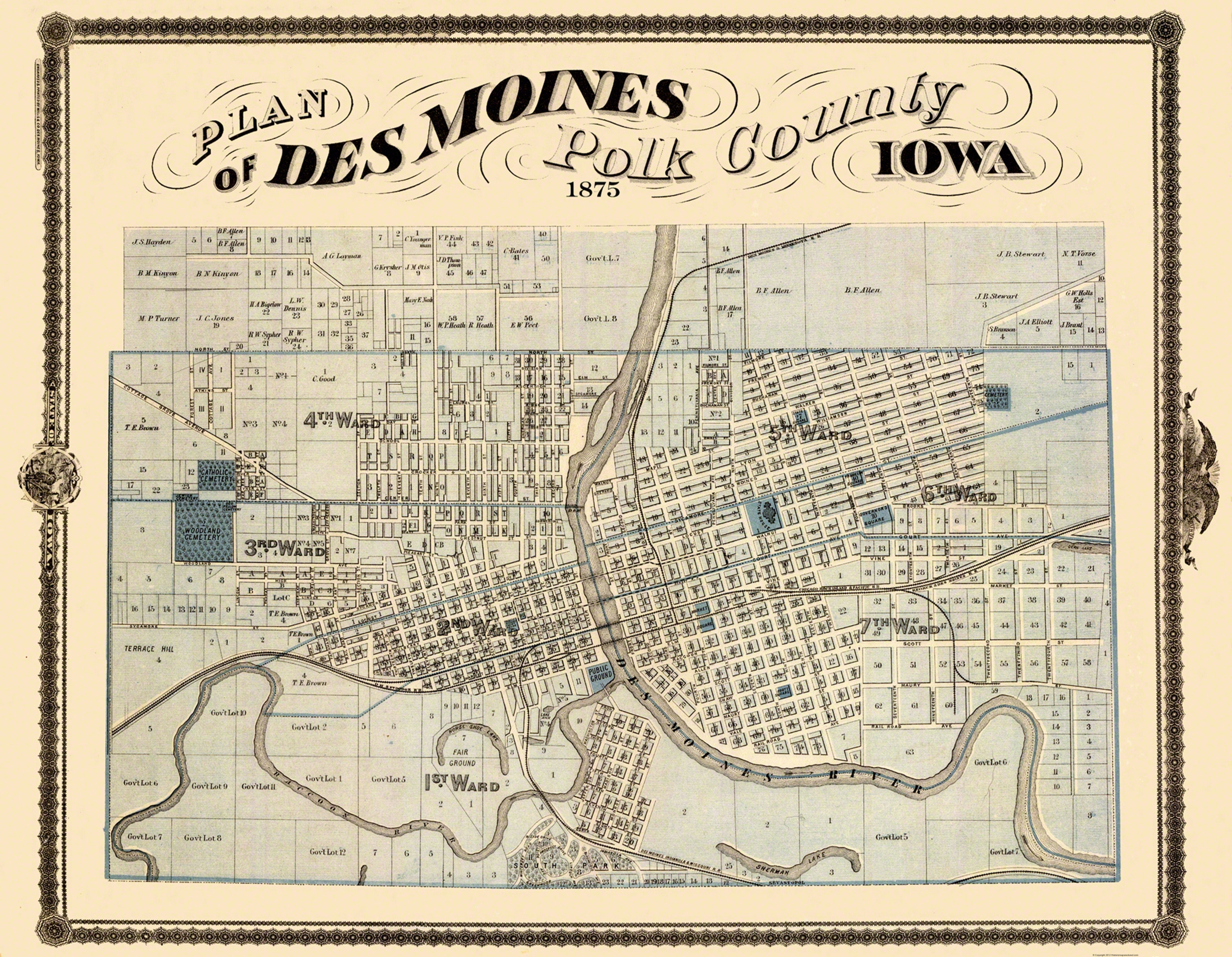 Old City Map Des Moines Iowa Landowner 1875