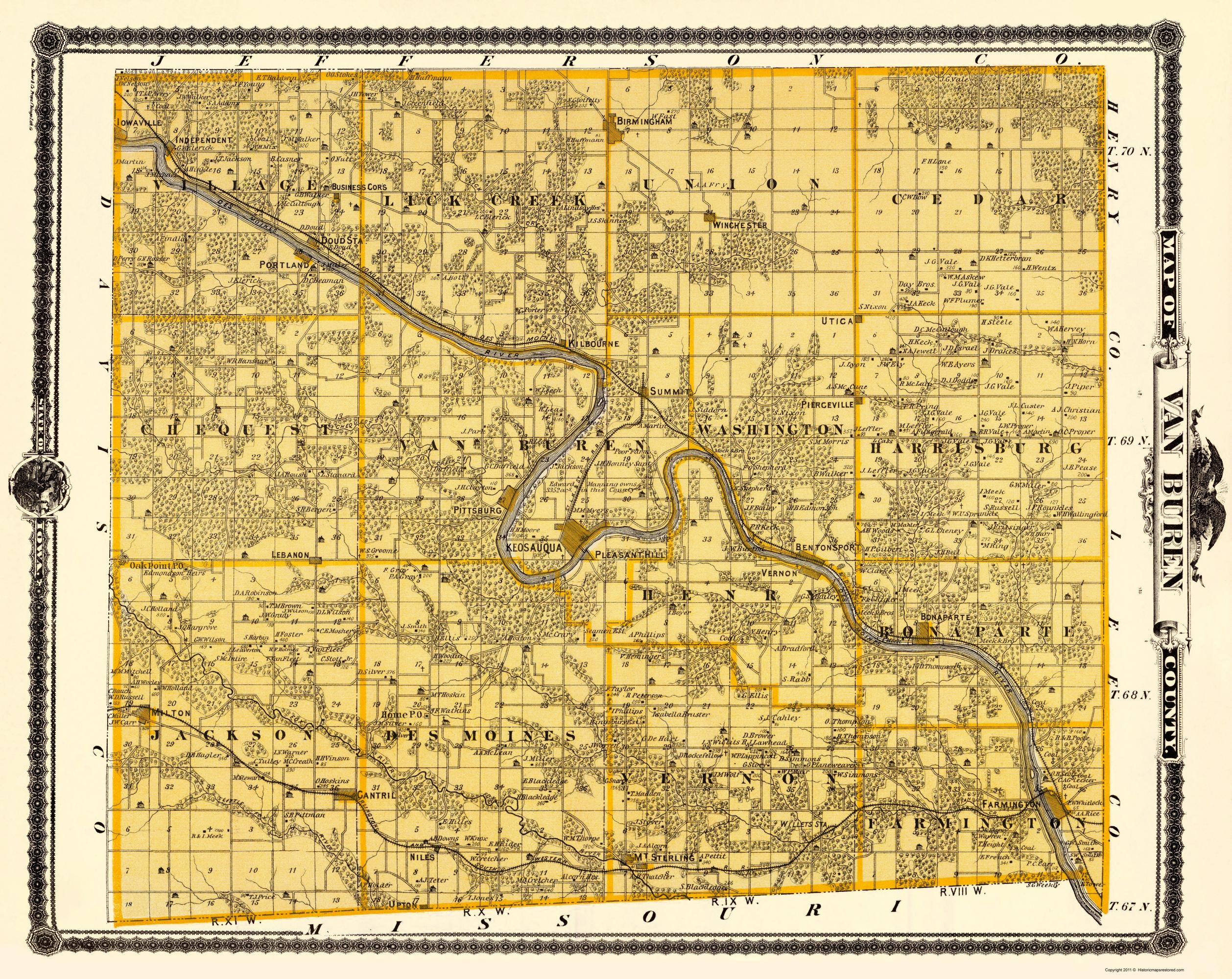 Cantril Iowa Map.Old County Map Van Buren Iowa Landowner Andreas 1875