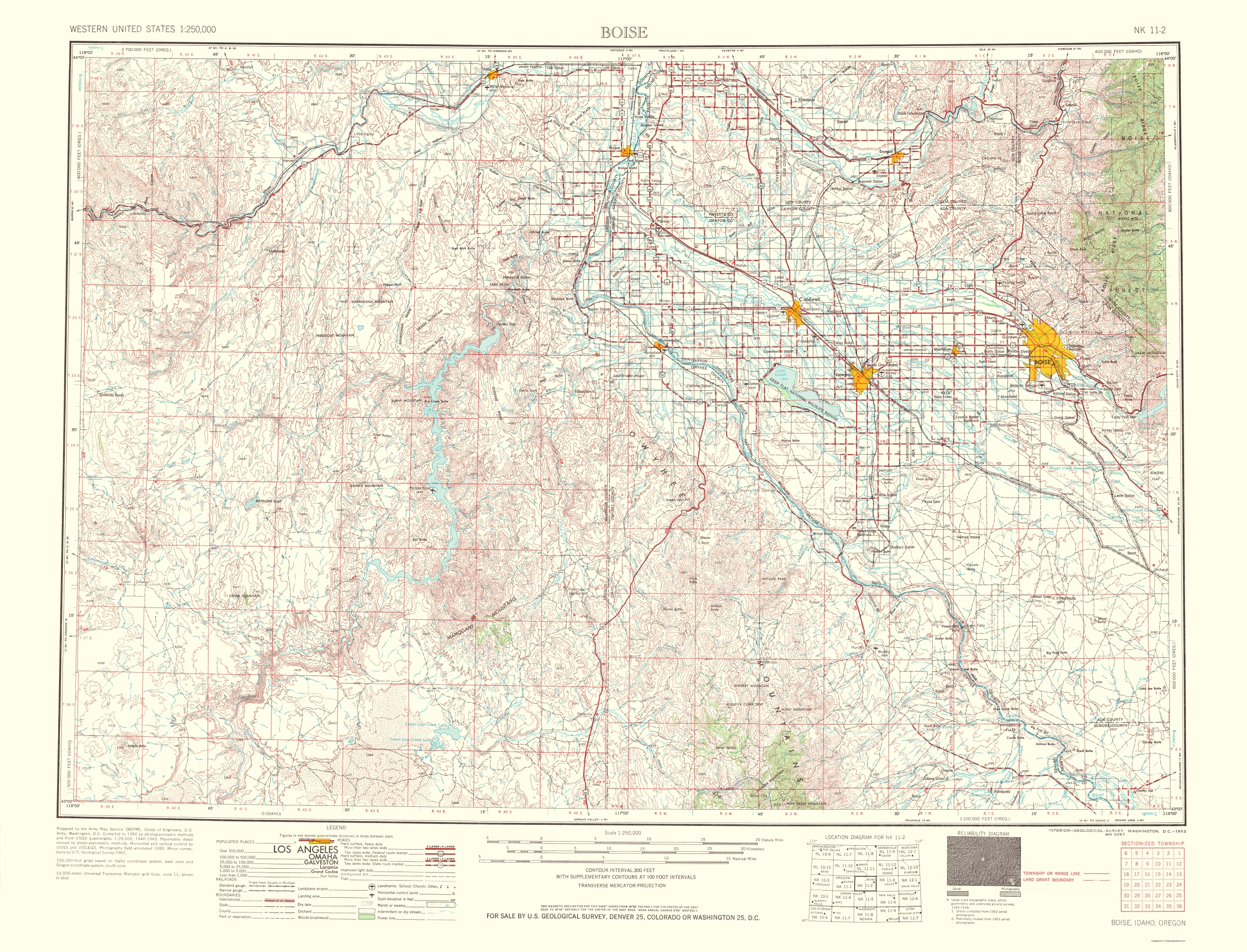 Old Topographical Map - Boise Idaho, Oregon 1962