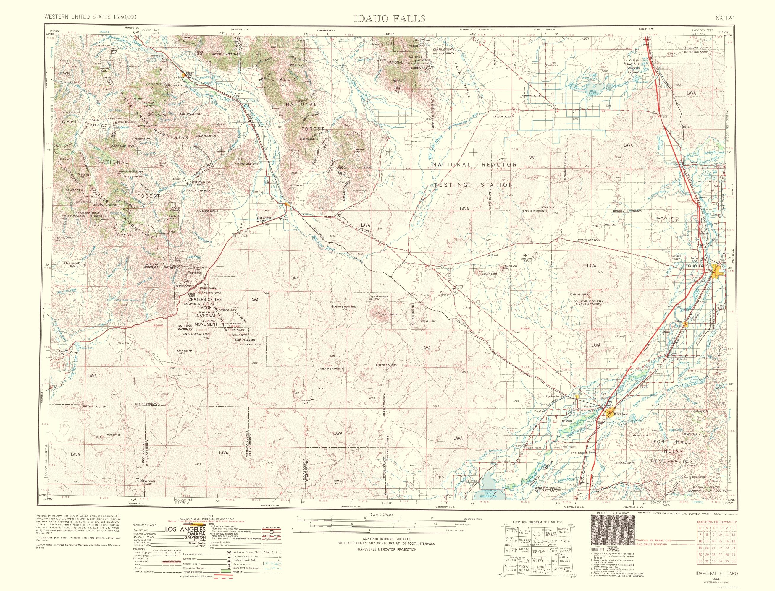 Old Topographical Map Idaho Falls Idaho 1963