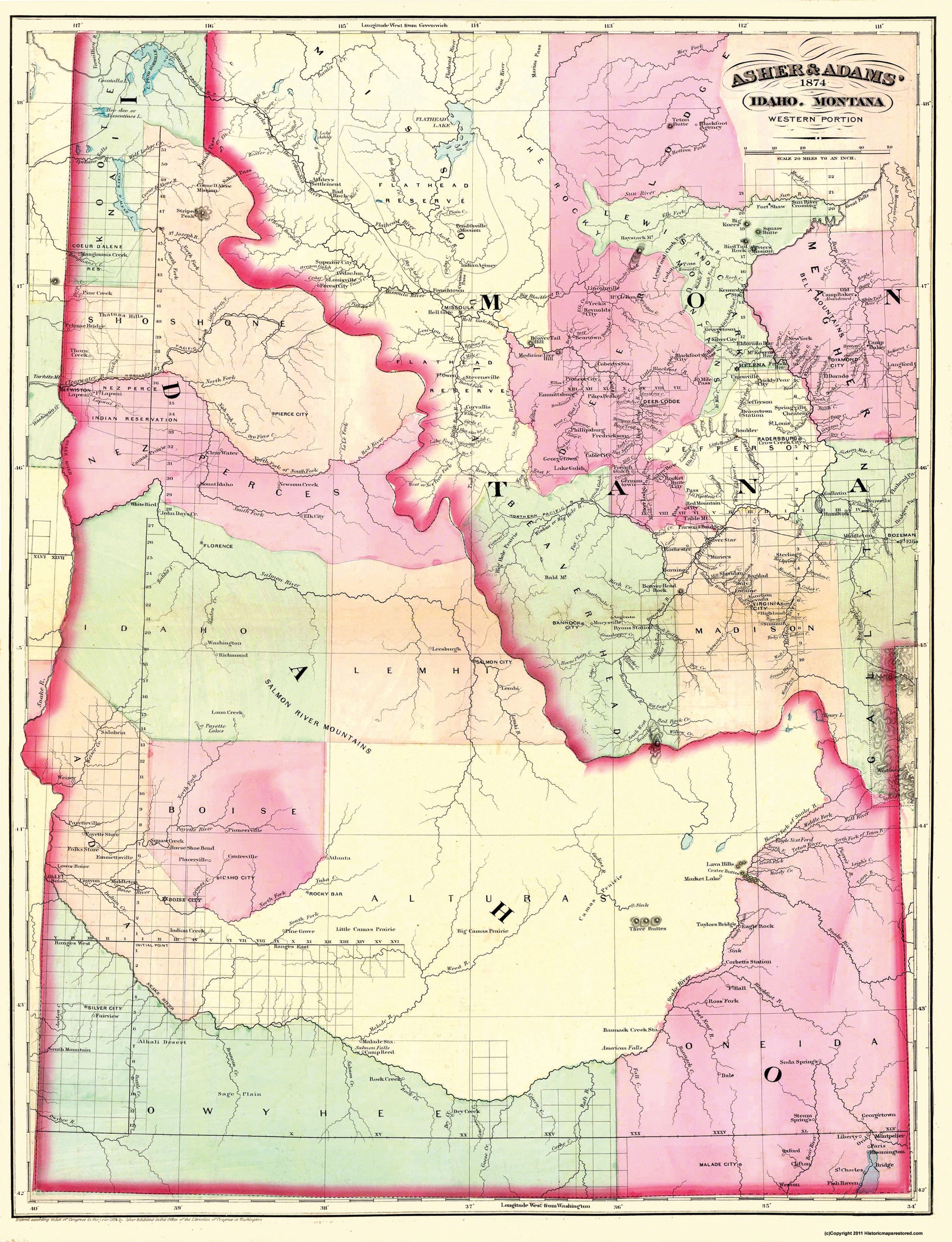 Montana And Idaho Map.Old State Map Idaho 1874