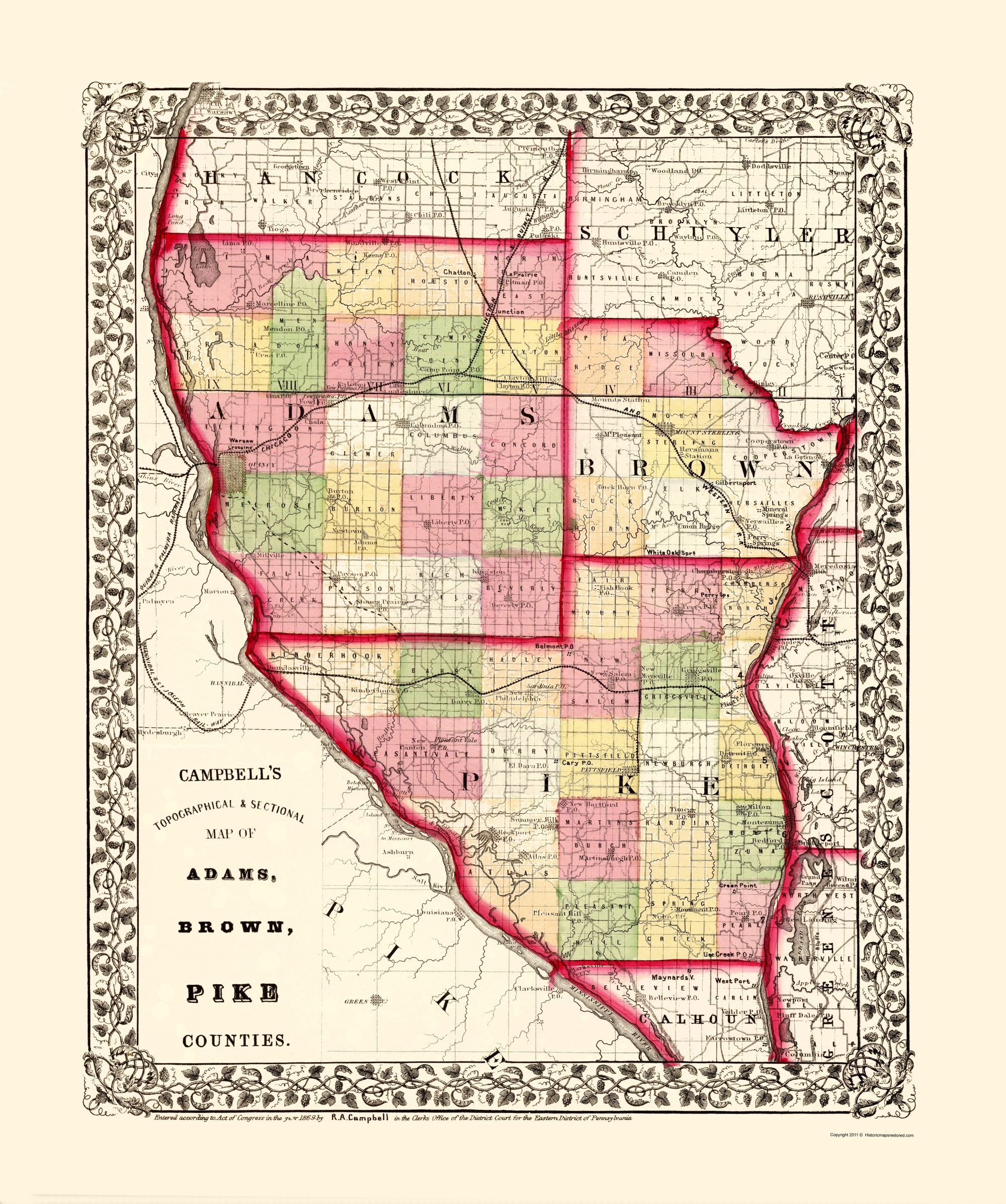 Old County Map Adams Brown Pike Illinois 1850