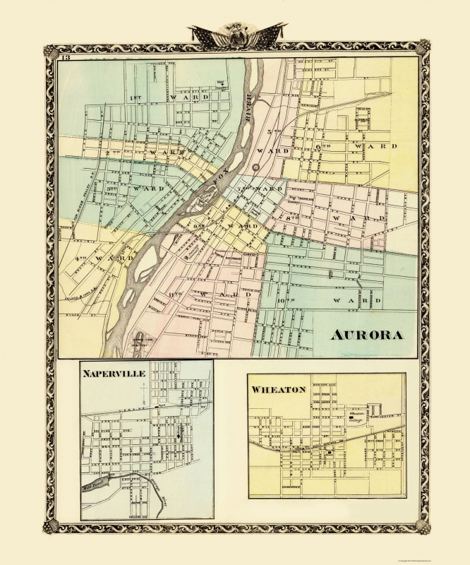 Aurora, Wheaton, Naperville Illinois - Warner 1870 - 23 x 27.61 on prairie crossing map, westmont map, duquoin map, plattsmouth map, wheaton park district map, elgin community college map, rock island district map, rockford map, schaumburg map, polo map, west suburban map, illinois map, lagrange park map, grayslake map, lake county il zip code map, chicagoland area map, worth map, elmhurst map, chicago map, joliet map,